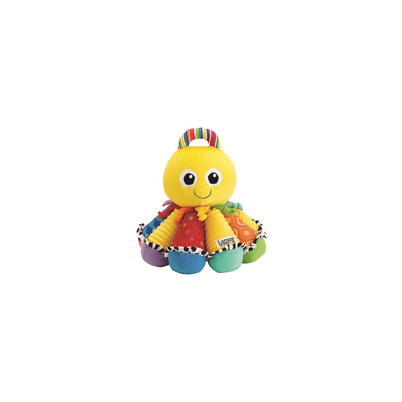 Игрушка Музыкальный Осьминожек, LamazeИгрушки для малышей<br>Яркая игрушка для самых маленьких обязательно полюбится крохе. Осьминожек выполнен из разноцветных материалов различной фактуры, что позволяет развивать мелкую моторику, сенсорное и цветовое восприятие. Каждая щупальца осьминога представляет собой одну из музыкальных нот. Поочередно нажимая на них, ваш малыш может придумывать свои собственные мелодии. Так же веселый осьминожка имеет пищалки, прорезыватели и удобную ручку в верхней части, за которую его можно носить или подвешивать. Игрушка выполнена из высококачественных материалов, безопасных для детей. Имеет приятный  аромат ванили.<br><br>Дополнительная информация:<br><br>- Материал: текстиль.<br>- Размер: 25,4 х 25,4 х 31,5 см<br>- Цвет: желтый, разноцветный.<br>- Звуковые эффекты: есть.<br>- Пищалка, прорезыватели. <br>- Батарейки не требуются.<br><br>Игрушку Музыкальный Осьминожек, Lamaze можно купить в нашем магазине.<br><br>Ширина мм: 310<br>Глубина мм: 220<br>Высота мм: 310<br>Вес г: 740<br>Возраст от месяцев: 0<br>Возраст до месяцев: 24<br>Пол: Унисекс<br>Возраст: Детский<br>SKU: 1860557