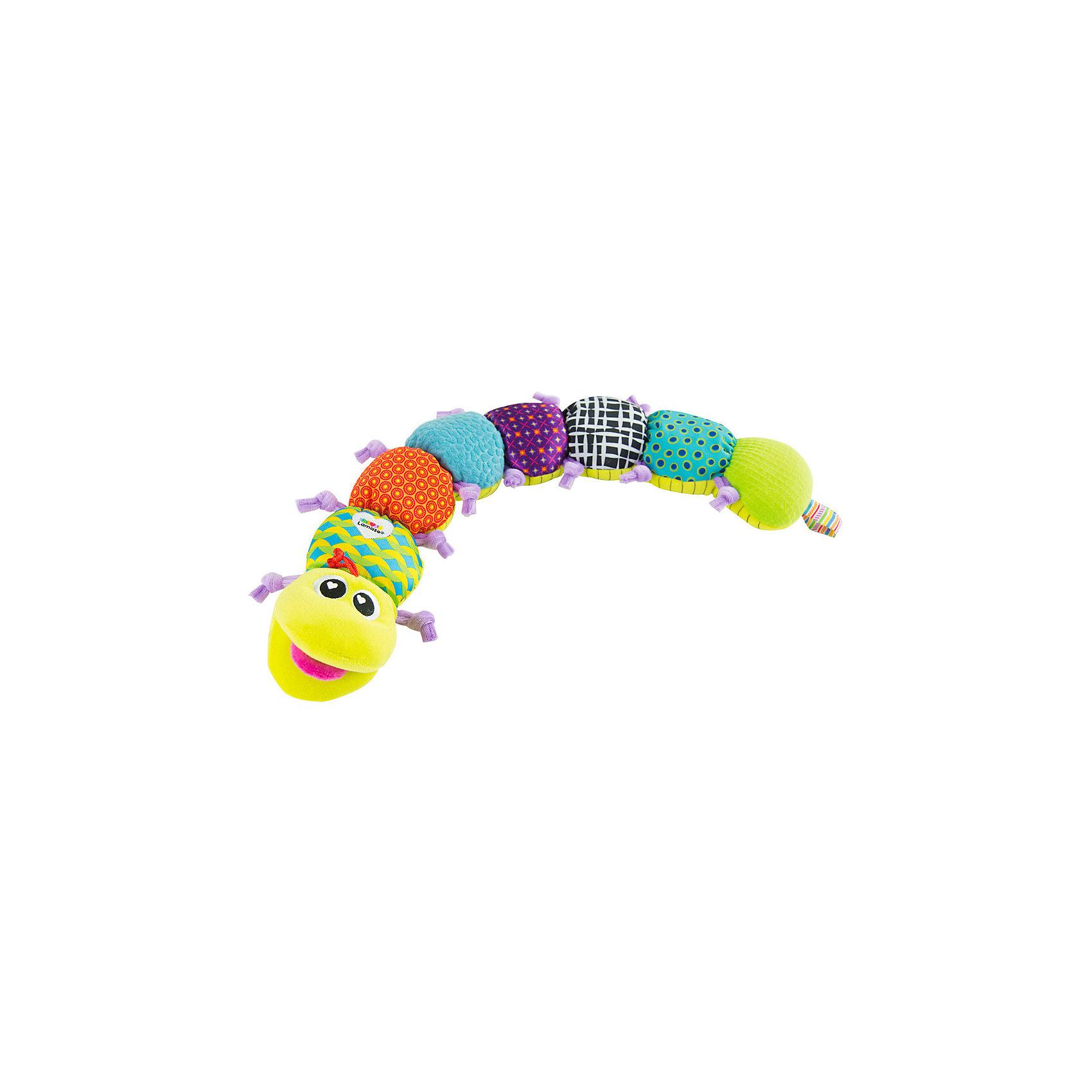 Игрушка Музыкальная гусеница, LamazeМягкие игрушки<br>Яркая игрушка для самых маленьких обязательно полюбится крохе. Гусеница выполнена из разноцветных материалов различной фактуры, что позволяет развивать мелкую моторику, сенсорное и цветовое восприятие. Если нажать на голову игрушки, заиграет веселая музыка (ламбада). Вторая часть гусеницы- шершавая, в третьем отделе спрятан колокольчик, четвертый и шестой отделы шелестят, в пятом находится пищалка, в последнем отделе - погремушка. На животе гусеницы нарисован ростомер для детей. Выполненная из безопасных гипоаллергенных материалов эта игрушка станет прекрасным подарком для любого крохи.<br><br>Дополнительная информация:<br><br>- Материал: текстиль.<br>- Размер: 61,5 х 10 см<br>- Цвет: разноцветный.<br>- Звуковые эффекты: есть.<br>- Пищалка, колокольчик, погремушка. <br>- Батарейки не требуются.<br><br>Игрушку Музыкальная гусеница, Lamaze можно купить в нашем магазине.<br><br>Ширина мм: 232<br>Глубина мм: 152<br>Высота мм: 244<br>Вес г: 307<br>Возраст от месяцев: 0<br>Возраст до месяцев: 12<br>Пол: Унисекс<br>Возраст: Детский<br>SKU: 1860563