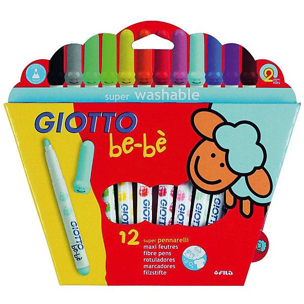 Детские утолщенные фломастеры на водной основе, 12 шт.Фломастеры<br>Характеристики товара:<br><br>• в комплекте: 12 фломастеров (12 цветов);<br>• размер упаковки: 23х17,5х2 см;<br>• вес: 250 грамм;<br>• материал: пластик;<br>• возраст: от 2 лет.<br><br>Giotto BEBE Super Fibre Pens - цветные фломастеры, изготовленные на водной основе с натуральными компонентами, не вызывающими аллергии. Утолщенный корпус фломастеров дополнен приятными рисунками, которые привлекут внимание юных художников. Пишущий узел имеет овальную форму. Он выдерживает сильное нажатие и не вдавливается внутрь фломастера. <br><br>Giotto (Джотто) BEBE Super Fibre Pens 12цв. Детские фломастеры с толстым стержнем можно купить в нашем интернет-магазине.<br>Ширина мм: 250; Глубина мм: 233; Высота мм: 25; Вес г: 239; Возраст от месяцев: 24; Возраст до месяцев: 72; Пол: Унисекс; Возраст: Детский; SKU: 1861021;