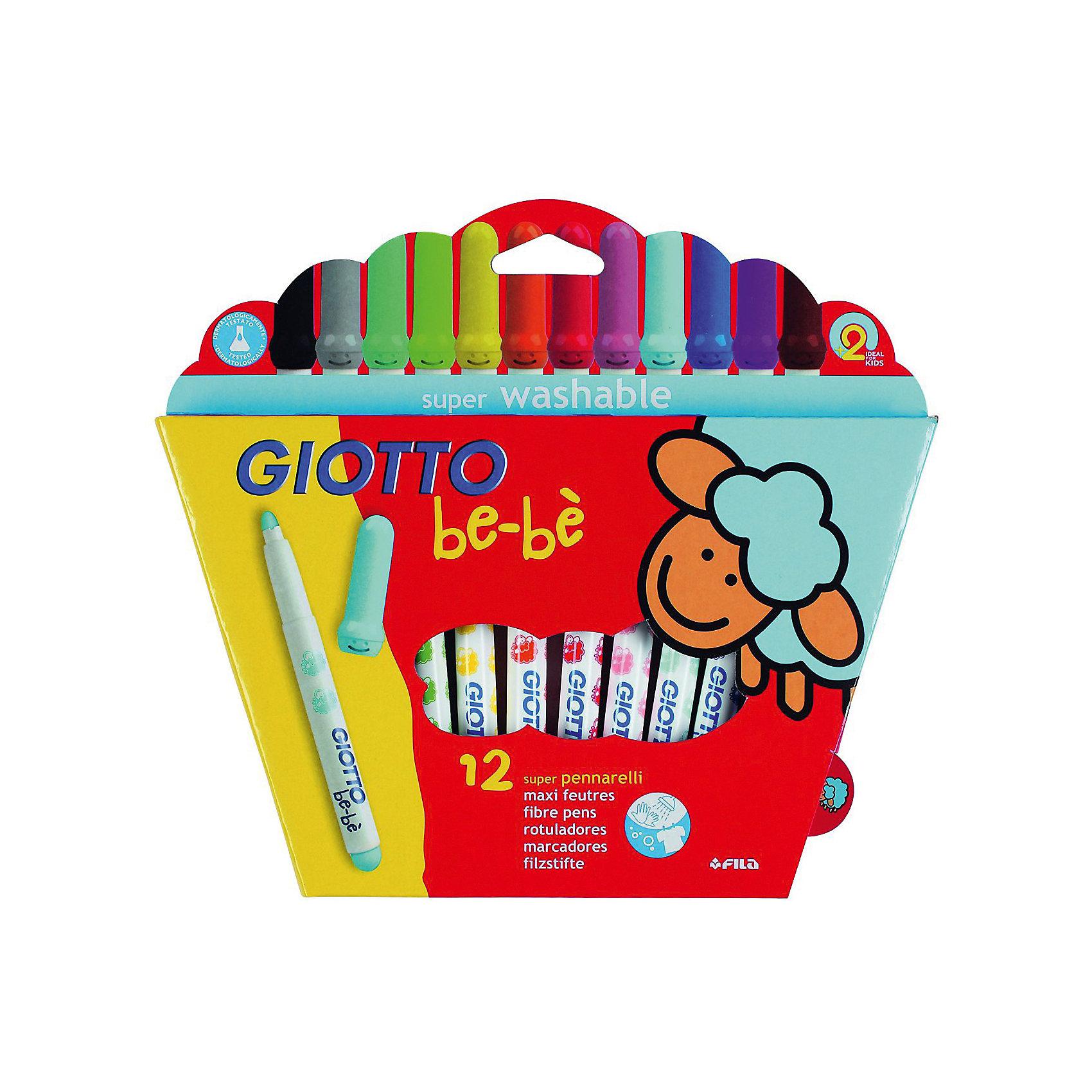 Детские утолщенные фломастеры на водной основе, 12 шт.Фломастеры<br>Характеристики товара:<br><br>• в комплекте: 12 фломастеров (12 цветов);<br>• размер упаковки: 23х17,5х2 см;<br>• вес: 250 грамм;<br>• материал: пластик;<br>• возраст: от 2 лет.<br><br>Giotto BEBE Super Fibre Pens - цветные фломастеры, изготовленные на водной основе с натуральными компонентами, не вызывающими аллергии. Утолщенный корпус фломастеров дополнен приятными рисунками, которые привлекут внимание юных художников. Пишущий узел имеет овальную форму. Он выдерживает сильное нажатие и не вдавливается внутрь фломастера. <br><br>Giotto (Джотто) BEBE Super Fibre Pens 12цв. Детские фломастеры с толстым стержнем можно купить в нашем интернет-магазине.<br><br>Ширина мм: 250<br>Глубина мм: 233<br>Высота мм: 25<br>Вес г: 239<br>Возраст от месяцев: 24<br>Возраст до месяцев: 72<br>Пол: Унисекс<br>Возраст: Детский<br>SKU: 1861021