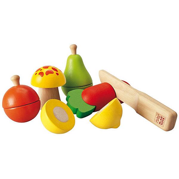 PLAN TOYS 5337 Набор фруктов и овощейИгрушечные продукты питания<br>Морковку, гриб и яблоко, грушу и лимон можно совершенно безопасно резать деревянным ножом. На разрезе реалистично показана середина плода. Половинки соединены между собой липучкой.<br><br>Дополнительная информация:<br><br>- В комплекте: 11 элементов (Яблоко, лимон, гриб, груша, морковь (каждый элемент можно разрезать на 2 половинки), нож<br>- Размер ножа: 16 x 2 x 3 см<br>- Средний размер фигурок: 10 х 13 см (длина и обхват)<br>- Материал: каучуковое дерево, соевые краски.<br><br>PLAN TOYS 5337 Набор фруктов и овощей можно купить в нашем магазине.<br><br>Ширина мм: 189<br>Глубина мм: 195<br>Высота мм: 83<br>Вес г: 488<br>Возраст от месяцев: 36<br>Возраст до месяцев: 60<br>Пол: Унисекс<br>Возраст: Детский<br>SKU: 1861050