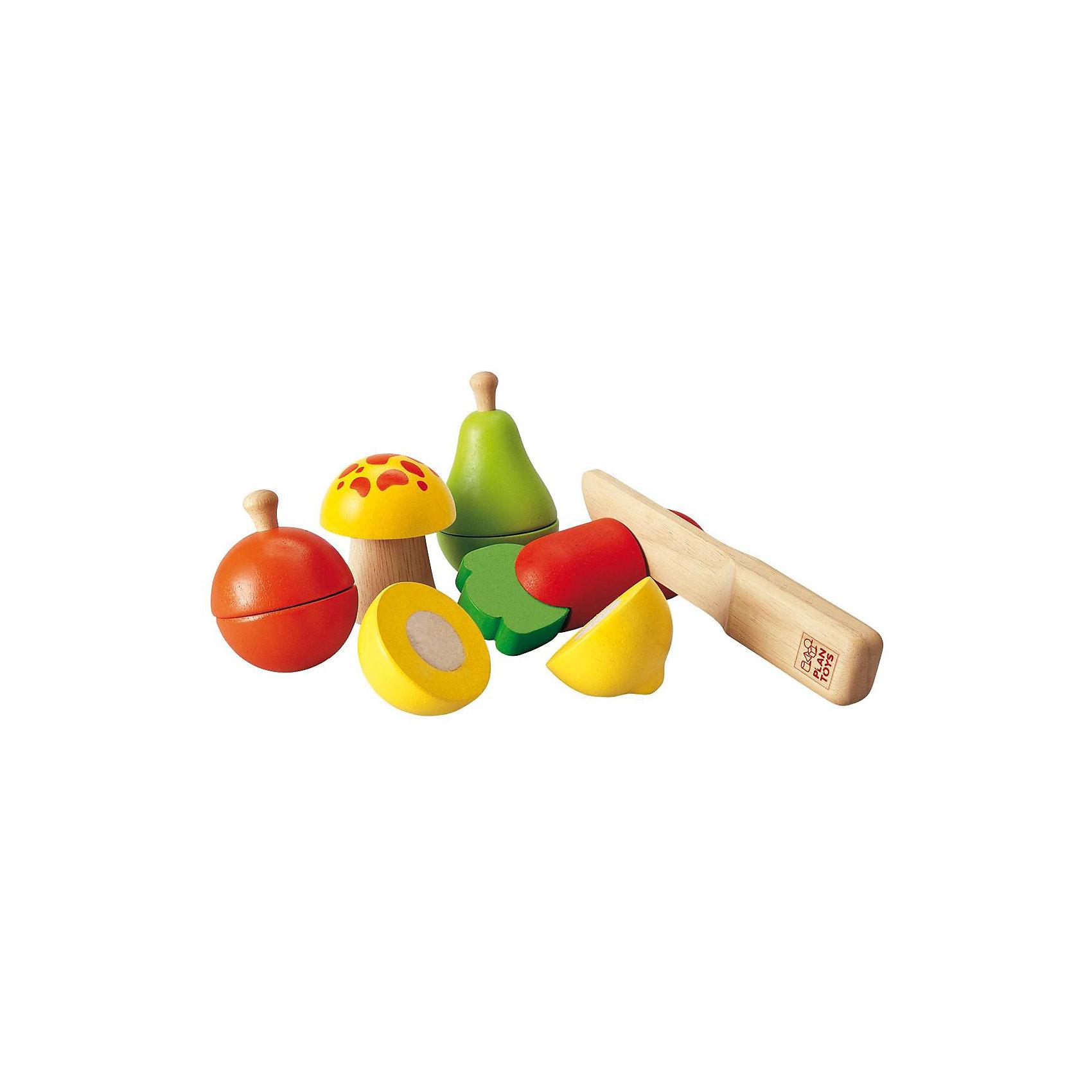 PLAN TOYS 5337 Набор фруктов и овощейМорковку, гриб и яблоко, грушу и лимон можно совершенно безопасно резать деревянным ножом. На разрезе реалистично показана середина плода. Половинки соединены между собой липучкой.<br><br>Дополнительная информация:<br><br>- В комплекте: 11 элементов (Яблоко, лимон, гриб, груша, морковь (каждый элемент можно разрезать на 2 половинки), нож<br>- Размер ножа: 16 x 2 x 3 см<br>- Средний размер фигурок: 10 х 13 см (длина и обхват)<br>- Материал: каучуковое дерево, соевые краски.<br><br>PLAN TOYS 5337 Набор фруктов и овощей можно купить в нашем магазине.<br><br>Ширина мм: 189<br>Глубина мм: 195<br>Высота мм: 83<br>Вес г: 488<br>Возраст от месяцев: 36<br>Возраст до месяцев: 60<br>Пол: Унисекс<br>Возраст: Детский<br>SKU: 1861050
