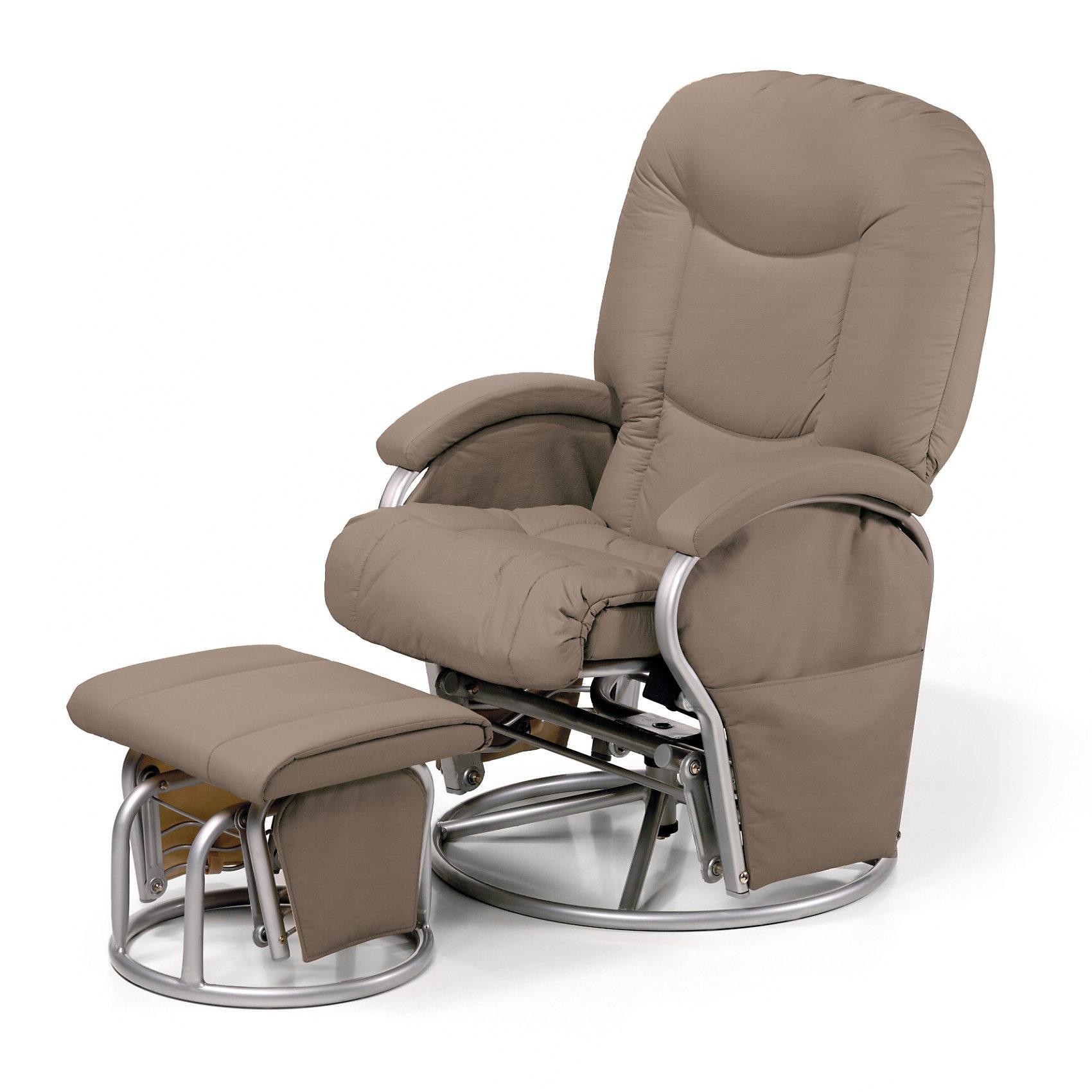 Кресло-качалка для мамы Metal Glider, Hauck, cremeХарактеристики: <br><br>• регулируемый угол наклона спинки, 91-120 градусов;<br>• вращающееся сидение, угол поворота 360 градусов;<br>• эргономичная форма сиденья;<br>• мягкие подлокотники;<br>• пуфик для ног, подвижный механизм;<br>• регулируется расстояние от кресла до пуфика;<br>• материал: эко-кожа, металл.<br><br>Размеры:<br><br>• допустимая нагрузка: 120 кг;<br>• размер кресла: 93х72х102 см;<br>• ширина сиденья: 72 см;<br>• высота спинки: 50 см;<br>• вес кресла: 17,5 кг;<br>• вес стульчика: 4,5 кг;<br>• размер стульчика: 44х48х35 см;<br>• вес в упаковке: 22 кг.<br><br>Комплектация:<br><br>• кресло-качалка;<br>• пуфик-качалка;<br>• инструкция.<br><br>Кресло-качалку для мамы Metal Glider, Hauck, creme можно купить в нашем интернет-магазине.<br><br>Ширина мм: 920<br>Глубина мм: 570<br>Высота мм: 440<br>Вес г: 25500<br>Цвет: бежевый<br>Возраст от месяцев: 0<br>Возраст до месяцев: 24<br>Пол: Унисекс<br>Возраст: Детский<br>SKU: 1865146