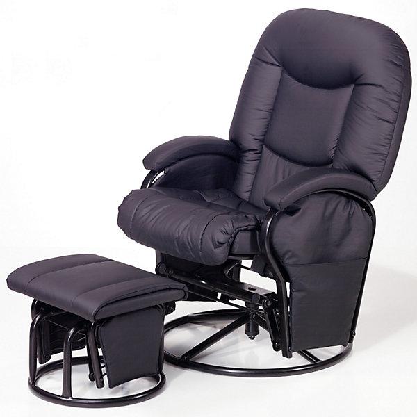 Кресло-качалка для мамы Metal Glider, Hauck, blackКресла-качалки<br>Характеристики: <br><br>• регулируемый угол наклона спинки, 91-120 градусов;<br>• вращающееся сидение, угол поворота 360 градусов;<br>• эргономичная форма сиденья;<br>• мягкие подлокотники;<br>• пуфик для ног, подвижный механизм;<br>• регулируется расстояние от кресла до пуфика;<br>• материал: эко-кожа, металл.<br><br>Размеры:<br><br>• допустимая нагрузка: 120 кг;<br>• размер кресла: 93х72х102 см;<br>• ширина сиденья: 72 см;<br>• высота спинки: 50 см;<br>• вес кресла: 17,5 кг;<br>• вес стульчика: 4,5 кг;<br>• размер стульчика: 44х48х35 см;<br>• вес в упаковке: 22 кг.<br><br>Комплектация:<br><br>• кресло-качалка;<br>• пуфик-качалка;<br>• инструкция.<br><br>Кресло-качалку для мамы Metal Glider, Hauck, black можно купить в нашем интернет-магазине.<br><br>Ширина мм: 920<br>Глубина мм: 570<br>Высота мм: 440<br>Вес г: 25500<br>Цвет: черный<br>Возраст от месяцев: 0<br>Возраст до месяцев: 24<br>Пол: Унисекс<br>Возраст: Детский<br>SKU: 1865147