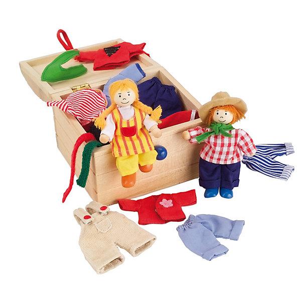 Куклы Берта и Бен с набором одежды  GOKIКуклы<br>Берта и Бен - это подвижные куклы из дерева. <br><br>В комплект входят 14 предметов гардероба, которые можно комбинировать различными способами, поэтому играть с Бертой и Беном очень весело. Их можно по-разному одевать и придумывать свои собственные наряды. А хранить одежду и кукол можно в большом ящичке из дерева. <br><br>Дополнительная информация:<br><br>Материал: одежда изготовлена из хлопка, куклы из дерева. <br>Высота кукол: 10 см.<br>Размер упаковки (д/ш/в): 13 х 14 х 10 см.<br>Ширина мм: 130; Глубина мм: 140; Высота мм: 100; Вес г: 361; Возраст от месяцев: 36; Возраст до месяцев: 120; Пол: Унисекс; Возраст: Детский; SKU: 1867629;