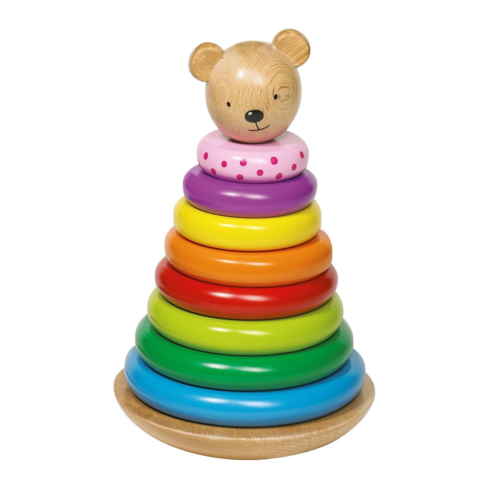 Пирамидка Мишка, gokiЦветная пирамидка Медвежонок. <br><br>Ваш малыш с радостью будет складывать яркую пирамидку. А для того, чтобы сложить все колечки правильно, ему нужно будет немного постараться. <br><br>Дополнительная информация:<br><br>Высота: 22 см. <br>Материал: дерево.<br><br>Ширина мм: 237<br>Глубина мм: 147<br>Высота мм: 147<br>Вес г: 991<br>Возраст от месяцев: 18<br>Возраст до месяцев: 36<br>Пол: Унисекс<br>Возраст: Детский<br>SKU: 1867653