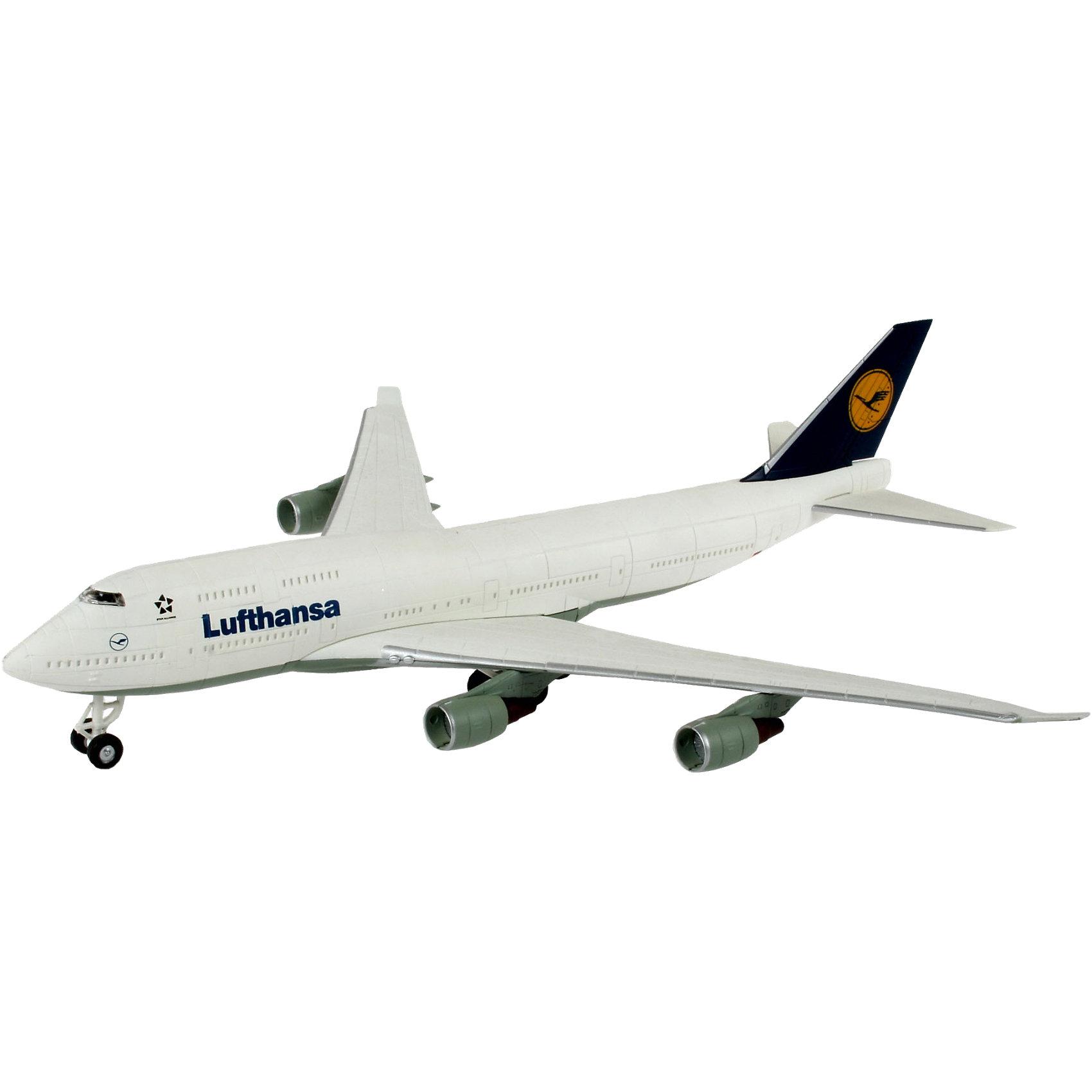 Сборка самолет Boeing 747 LufthansaСборные модели транспорта<br>Модель самолета Boeing 747 Lufthansa от фирмы Revell является уменьшенной копией самого известного в мире гражданского самолета Boeing 747 с логотипом авиакомпании Lufthansa - станет отличным украшением комнаты и дополнением Вашей коллекции. <br>Масштаб: 1:288 <br>Количество деталей: 42 <br>Длина модели: 252 мм <br>Размах крыльев: 231 мм <br>Подойдет для детей старше 6-и лет. <br>Для данной модели краски клей и кисточка не нужны. Детали соединяются специальными замками.<br><br>Ширина мм: 313<br>Глубина мм: 180<br>Высота мм: 50<br>Вес г: 211<br>Возраст от месяцев: 72<br>Возраст до месяцев: 132<br>Пол: Мужской<br>Возраст: Детский<br>SKU: 1871986