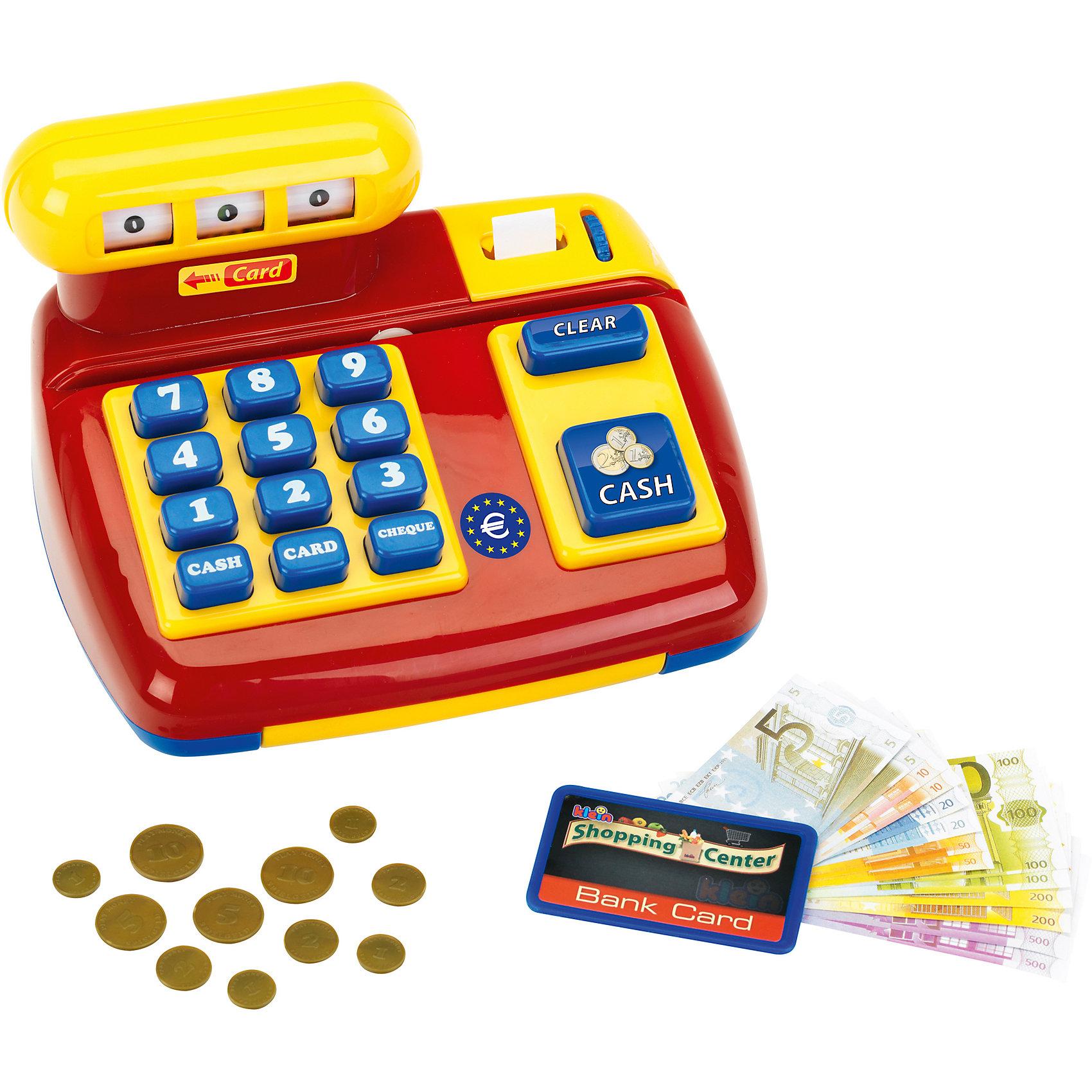 klein Игрушка-касса с чекомМеханическая игрушка-касса с чеком со звуковыми эффектами от klein (Кляйн).<br><br>Касса обладает массой интересных функций, например, можно расплачиваться кредитной картой - при этом раздается характерный звук. Открывание кассы также сопровождается звуковым эффектом.<br>Кассовая лента для чеков и появляющиеся на табло цифры выглядят очень реалистично.<br><br>Дополнительная информация:<br><br>В комплект входят игрушечные деньги.<br><br>Размеры упаковки (д/ш/в): 20,8 х 16,2 х 13 см.<br><br>Материал: качественная пластмасса<br><br>Для игры в магазин просто необходима эта механическая касса!<br><br>Ширина мм: 210<br>Глубина мм: 170<br>Высота мм: 134<br>Вес г: 617<br>Возраст от месяцев: 36<br>Возраст до месяцев: 72<br>Пол: Женский<br>Возраст: Детский<br>SKU: 1873368