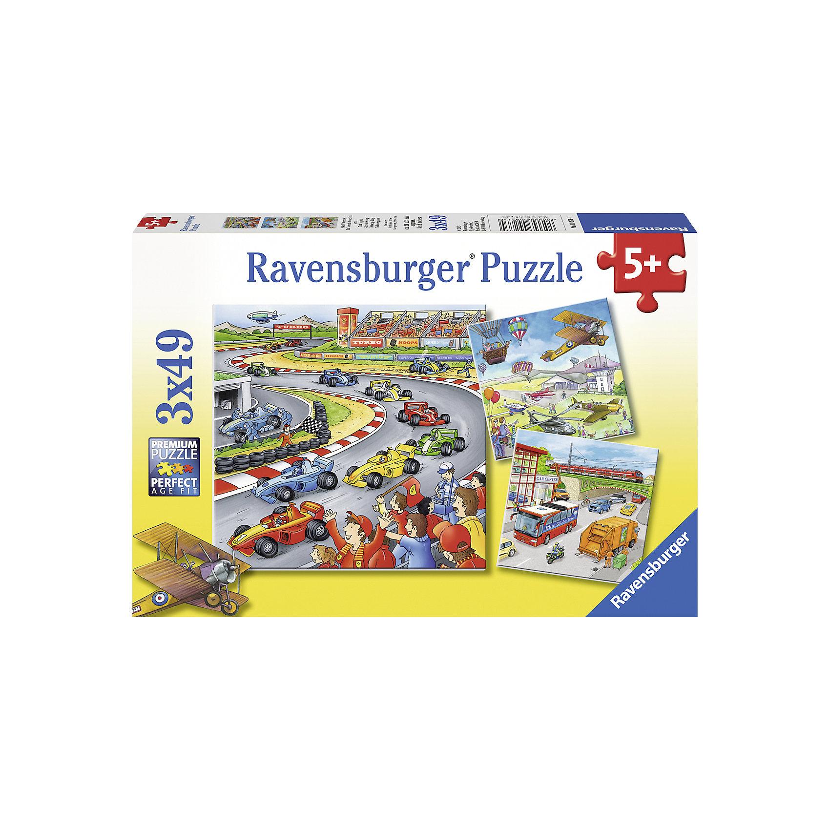 Пазлы Транспорт Ravensburger, 3х49 деталейСобирать пазлы «Транспорт» от Ravensburger (Равенсбургер) - это увлекательное и полезное занятие для ребенка. Ведь на трех красочных картинках изображен и городской транспорт и разные виды летной техники и даже гоночные машинки. Собирайте пазлы вместе с малышом, рассказывайте о различиях между самолетами и вертолетами и планируйте захватывающие путешествия! В замечательном наборе целых 3 пазла. Пазлы интересно собирать, ведь на картинках столько всего интересного!  Картинки получаются настолько яркими и привлекательными, что их можно использовать, как украшение комнаты, стоит только наклеить пазлы на картон. Вас порадует, что плотный картон, из которого состоит пазл не мнется во время сборки, яркая картинка защищена от расслаивания, благодаря чему такой пазл способен служить долгое время. Пазлы Транспорт от Ravensburger (Равенсбургер) - это полезное и увлекательное занятие для всей семьи!<br> <br>Дополнительная информация:<br><br>- Набор из 3 пазлов;<br>- Развивает моторику и внимание;<br>- Яркие картинки с большим количеством деталей;<br>- Очень качественные элементы не расслаиваются;<br>- Материал: картон;<br>- Размер готовой картинки: 18 х18 см;<br>- Размер упаковки: 28 х 19 х 4 см;<br>- Вес: 271 г<br><br>Пазлы Транспорт 3 х 49 деталей, Ravensburger (Равенсбургер) можно купить в нашем интернет-магазине.<br><br>Ширина мм: 278<br>Глубина мм: 190<br>Высота мм: 35<br>Вес г: 337<br>Возраст от месяцев: 60<br>Возраст до месяцев: 84<br>Пол: Мужской<br>Возраст: Детский<br>Количество деталей: 49<br>SKU: 1904978