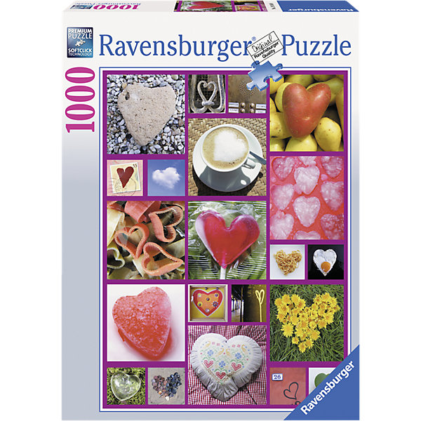 Пазл «Сердца» 1000 деталей, RavensburgerПазлы до 1000 деталей<br>Пазл «Сердца» 1000 деталей, Ravensburger (Равенсбургер) – это великолепный подарок, как для ребенка, так и для взрослого.<br>Большой увлекательный пазл «Сердца» Ravensburger объединит всю семью за интересным занятием, отвлечет от повседневных дел, обучит терпению и внимательности. Пазлы Ravensburger – это не только яркие, интересные изображения, но и высочайшее качество продукции. Каждый пазл фирмы Ravensburger изготовлен и упакован с большой тщательностью. Особенности пазлов  Ravensburger: отсутствие двух одинаковых деталей; части пазла идеально соединяются; матовая поверхность исключает неприятные отблески; прочные детали не ломаются; изготовлены из экологического сырья.<br><br>Дополнительная информация:<br><br>- Количество деталей: 1000<br>- Размер картинки: 70х50 см.<br>- Материал: картон<br>- Размер коробки: 27 x 5,5 х 37 см.<br><br>Пазл «Сердца» 1000 деталей, Ravensburger (Равенсбургер) можно купить в нашем интернет-магазине.<br>Ширина мм: 377; Глубина мм: 276; Высота мм: 59; Вес г: 854; Возраст от месяцев: 144; Возраст до месяцев: 228; Пол: Унисекс; Возраст: Детский; Количество деталей: 1000; SKU: 1904998;