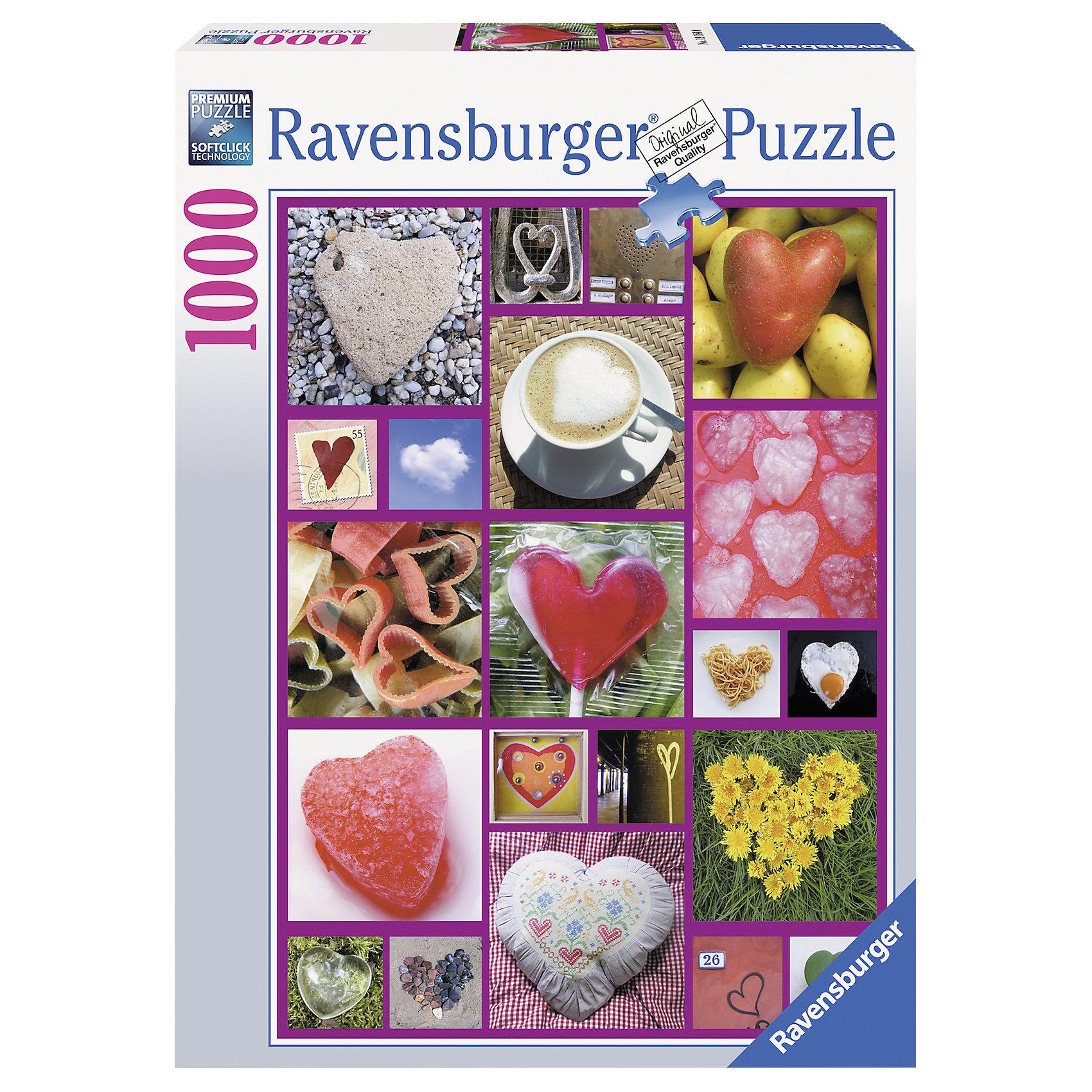 Ravensburger Пазл «Сердца» 1000 деталей, Ravensburger пазл для раскрашивания арт терапия царь зверей origami 360 деталей