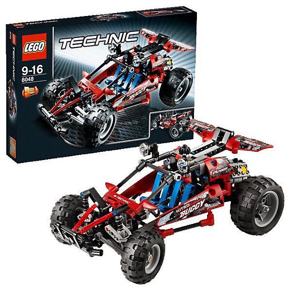 LEGO Technic 8048: БаггиКонструкторы Лего<br>Игровой набор LEGO Technic «Багги» (LEGO № 8048) отлично подходит для быстрой езды по пересеченной местности.    Багги превратит любую поездку в незабываемое впечатление. Этот автомобиль не только быстрый и подвижный, он отлично выглядит и оснащен множеством деталей.    Возможности:    - управление (при помощи регулятора на крыше багги можно управлять передними колесами)  - четырехклапанный двигатель с подвижными поршнями – независимая подвеска всех колес – кабина водителя открывается  - можно переделать в трактор    Подробнее:    - LEGO № 8048   - Возраст: от 9 до 16 лет  - Количество элементов LEGO: 314<br>Ширина мм: 262; Глубина мм: 57; Высота мм: 382; Вес г: 608; Возраст от месяцев: 108; Возраст до месяцев: 192; Пол: Мужской; Возраст: Детский; SKU: 1910118;