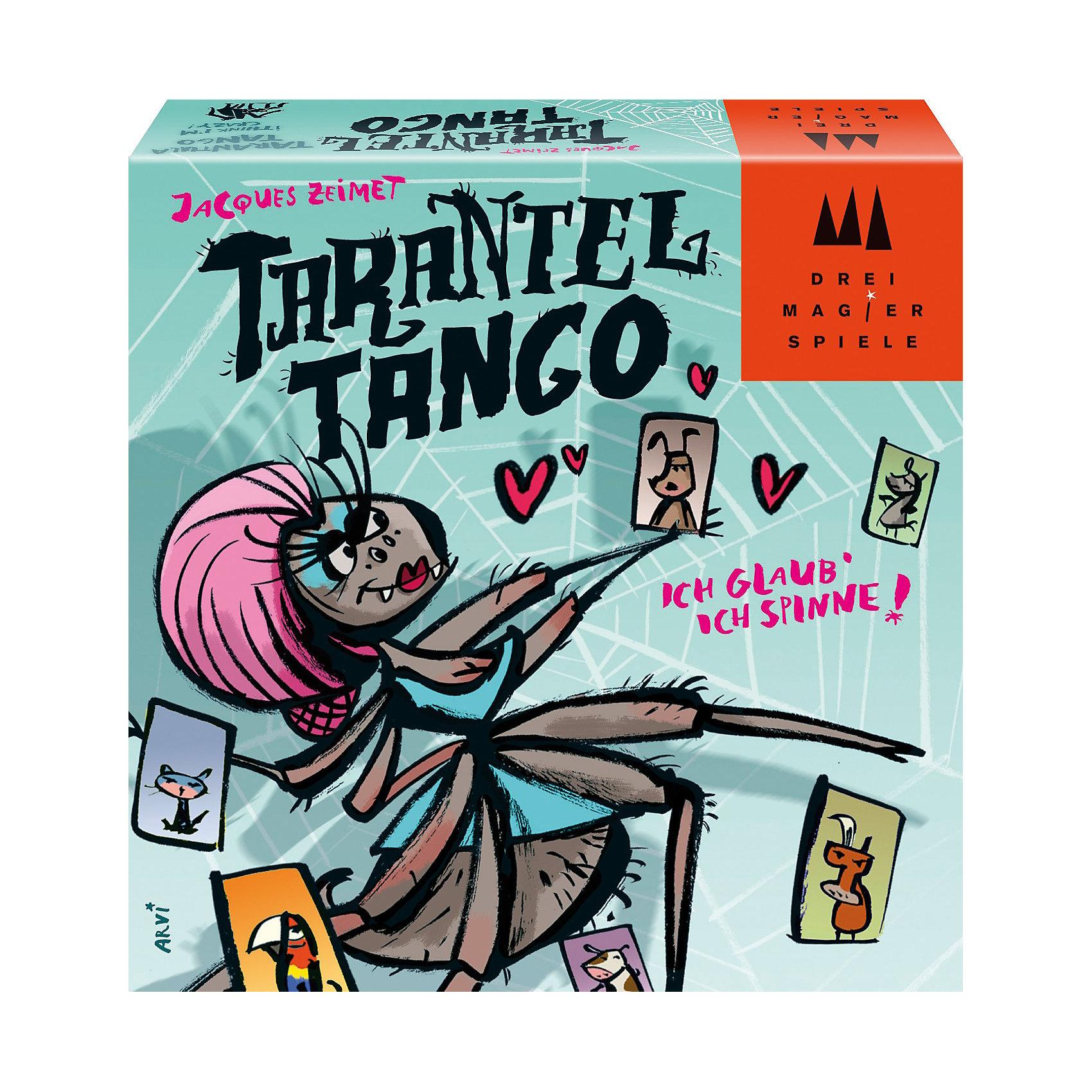Игра Танго с Тарантулом, SchmidtНастольные игры для всей семьи<br>Игра Танго с Тарантулом, Schmidt - сможет разнообразить вечер с друзьям! Игра простая, но очень забавная. Помоги тарантулу найти пару для танцев! Но другие животные боятся его угрожающего вида и вскрикивают! Будь внимательным и артистичным и сможешь избавиться от своих карточек первым. Правила игры простые и понятные: положите Танго-тарантула на середину стола, перемешайте все 120 карточек и поровну распределите их между всеми игроками. Первый игрок прикладывает верхнюю карточку из своей стопки короткой стороной к одной из сторон карточки Танго-тарантула. После этого наступает очередь игрока слева. Карточки раскладываются в направлении по часовой стрелке. Перед тем как выложить новую карту из своей колоды, игрок должен изобразить животное, изображенное на карте предыдущего игрока. И наконец, если новая карта с Тарантулом входит в игру, все игроки должны хлопнуть рукой по столу.<br><br>Дополнительная информация:<br><br>- В комплекте: 120 карточек с изображением животных (собака, корова, ослик, коза, кошка, попугай), 5 карточек тарантула, Танго-тарантул (пятисторонняя карточка), правила игры;<br>- Количество: 2-5 игроков;<br>- Время игры: 15-20 минут;<br>- Игра для веселой компании;<br>- Размер упаковки: 11 x 3,5 x 11 см;<br>- Вес: 210 г<br><br>Игру Танго с Тарантулом, Schmidt можно купить в нашем интернет-магазине.<br><br>Ширина мм: 112<br>Глубина мм: 116<br>Высота мм: 35<br>Вес г: 216<br>Возраст от месяцев: 84<br>Возраст до месяцев: 228<br>Пол: Унисекс<br>Возраст: Детский<br>SKU: 1914159