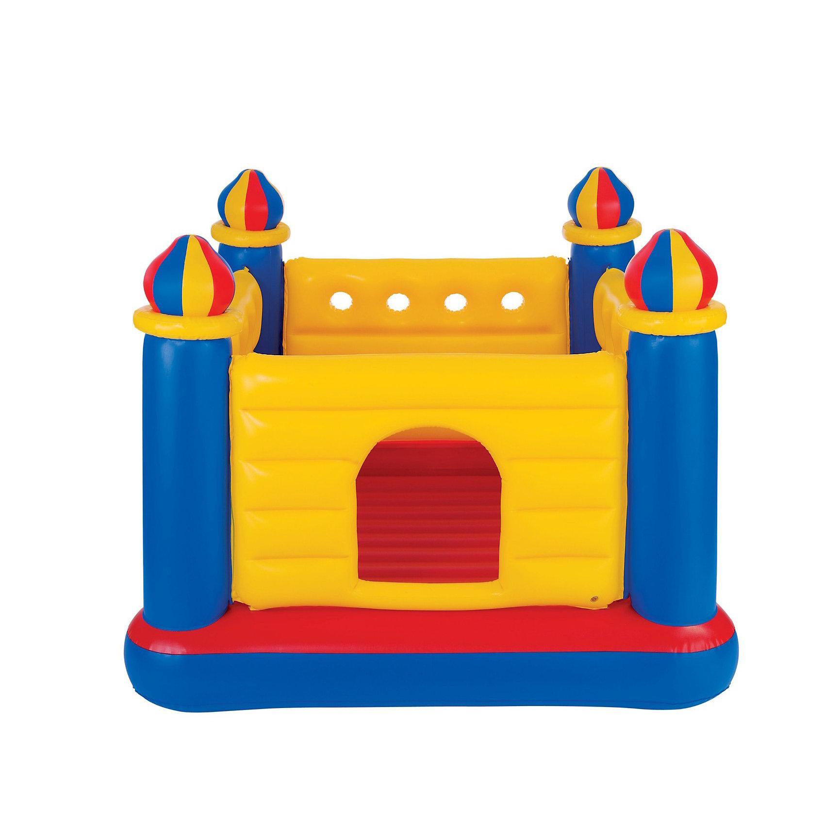 Детский надувной батут Замок, IntexБатуты<br>Детский надувной батут Замок, Intex (Интекс) — отличный вариант подарка непоседам! Представляет собой надувной замок с 4-мя башнями. Внутри замка дети могут прыгать, как на батуте. В замке свободно помещаются 2-3 ребенка. Использовать батут можно как в доме, так и на улице.<br>Надувные башенки и стенки крепости обеспечивают безопасность - ребенок не сможет случайно выпрыгнуть за пределы игровой площадки. Дно, а также каждая боковая стенка надуваются отдельно.<br><br>Надувной игровой центр-батут не оставит равнодушным ни одного ребенка! <br><br>Дополнительная информация:<br><br>- В комплекте: детский надувной батут Замок, <br>- Размер изделия: 175 x 175 x 135 см<br>- Материал: винил<br>- Допустимая нагрузка: 55 кг.<br>- Вес: 11,9 кг.<br>- Батут надувается обычным насосом (в комплект не входит)<br><br>Детский надувной батут Замок, Intex (Интекс) можно купить в нашем интернет-магазине.<br><br>Ширина мм: 480<br>Глубина мм: 423<br>Высота мм: 218<br>Вес г: 11991<br>Возраст от месяцев: 36<br>Возраст до месяцев: 72<br>Пол: Унисекс<br>Возраст: Детский<br>SKU: 1918523
