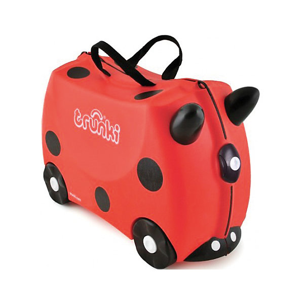 Чемодан на колесиках Божья коровкаДорожные сумки и чемоданы<br>Вместительный, удобный чемодан Божья коровка - замечательный вариант для маленьких путешественников. Оригинальный чемодан выполнен из прочного пластика в виде забавной божьей коровки с черными пятнышками и рожками. Размеры позволяют брать его в самолет как ручную кладь. Чемоданчик может использоваться как детский стульчик и как оригинальное средство передвижения. Благодаря надежным колесикам, удобной конструкции седла и стабилизаторам малыш ездит на чемодане как на каталке, отталкиваясь ножками и держась за рожки.<br><br>Чемодан оснащен удобными ручками для переноски и надежным замком с ключиком. С помощью ручного буксировочного ремня божью коровку можно везти по полу или нести на плече. Внутри просторное двустворчатое отделение для одежды и дорожных принадлежностей с ремнями для фиксации одежды, а также потайные секретные отсеки для мелочей. Все детали выполнены из экологически чистых, безопасных для детского здоровья материалов. Собственный чемодан для путешествий позволит ребенку почувствовать себя взрослым и самостоятельным.<br><br>Дополнительная информация:<br><br>- Материал: высококачественный пластик.<br>- Объем: 18 л.<br>- Максимальная нагрузка: 45 кг.<br>- Кол-во колес: 4 колеса.<br>- Размер чемодана: 46 х 20,5 х 31 см.<br>- Вес: 1,7 кг.<br><br>Чемодан на колесиках Божья коровка, Trunki, можно купить в нашем интернет-магазине.<br>Ширина мм: 480; Глубина мм: 350; Высота мм: 240; Вес г: 2200; Возраст от месяцев: 36; Возраст до месяцев: 72; Пол: Унисекс; Возраст: Детский; SKU: 1922862;
