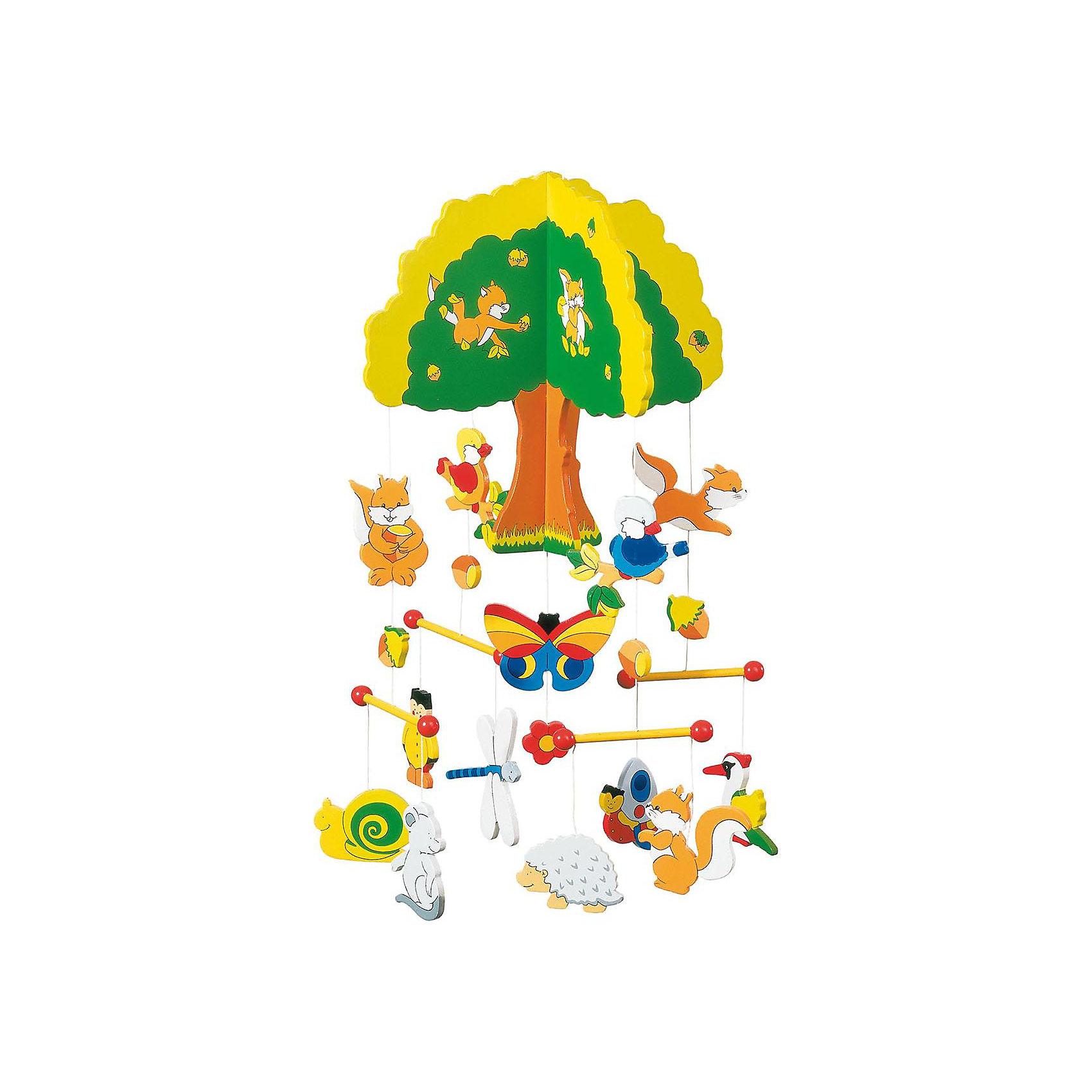 Мобиле Дерево, gokiНа тонких лесках подвешены фигурки из дерева. Этот  мобиле откроет окошко в чудесный и радостный мир из комнаты новорожденного.<br><br>Ширина мм: 294<br>Глубина мм: 269<br>Высота мм: 40<br>Вес г: 416<br>Возраст от месяцев: 0<br>Возраст до месяцев: 18<br>Пол: Унисекс<br>Возраст: Детский<br>SKU: 1939554