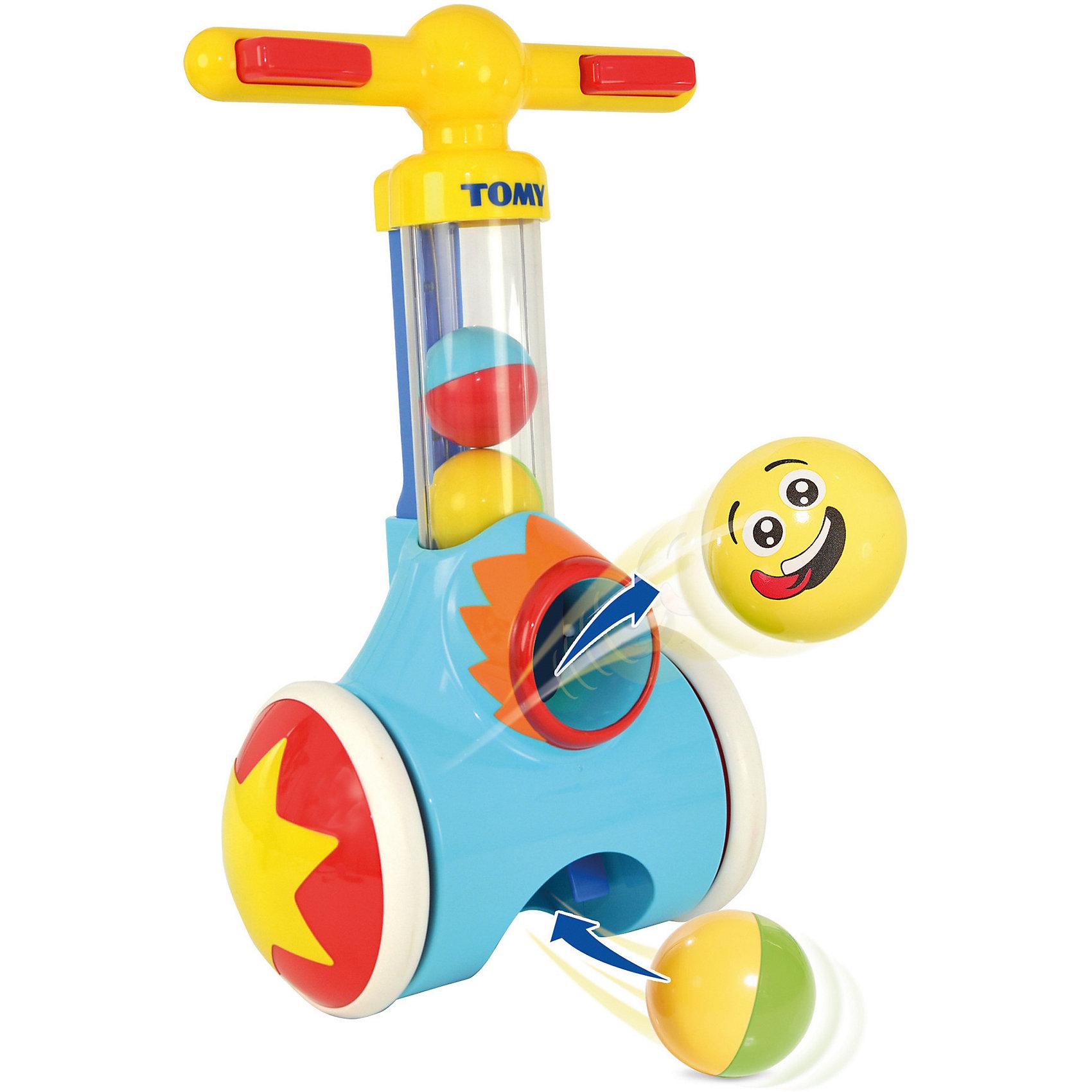 Игрушка Толкай-Запускай-Собирай, TOMYРазвивающие игрушки<br>Уникальная игрушка-катапульта с мячами и обучающим эффектом от TOMY (Томи) не даст скучать Вашему малышу и доставит ему необыкновенное удовольствие!<br><br>Данная игрушка оснащена специальным механизмом, который позволяет поднимать разноцветные забавные шарики по прозрачной трубке с пола. Шарики можно таже собирать самостоятельно через нижнее отверстие трубки. На рукоятке катапульты есть две зелёные кнопки. Нажав на них, красочные шарики стремительно выстрелят из игрушки. Игрушка подходит как для левшей, так и для правшей, она легка в управлении. <br><br>Забавные колёсики игрушки позволяют ей ездить. Во время езды катапульта будет весело потрескивать. Держась за ручки и бегая по комнате, собирая шарики, малыш будет иметь опору, что не даст ему упасть.<br><br>Веселая катапульта не только будет доставлять Вашему малышу море радости, но и будет стимулировать его активность и координацию, что очень важно на ранних стадиях развития малыша. Удивите своего ребёнка!<br><br>Отличная игрушка для игры как дома, так и на улице.<br><br>В комплекте:<br>- каталка-катапульта с колёсиками<br>- двухцветные шарики (4 шт.)<br><br>Дополнительная информация:<br>Материал - пластик<br>Размер игрушки - 25х14х40,5 см<br>Размер упаковки 26x42,5x15 см<br>Диаметр шарика - 5 см<br>Вес – 1,5 кг<br>Работает без батареек<br><br>Игрушку Толкай-Запускай-Собирай, TOMY можно купить в нашем магазине.<br><br>Ширина мм: 424<br>Глубина мм: 264<br>Высота мм: 159<br>Вес г: 1438<br>Возраст от месяцев: 18<br>Возраст до месяцев: 36<br>Пол: Унисекс<br>Возраст: Детский<br>SKU: 1946334