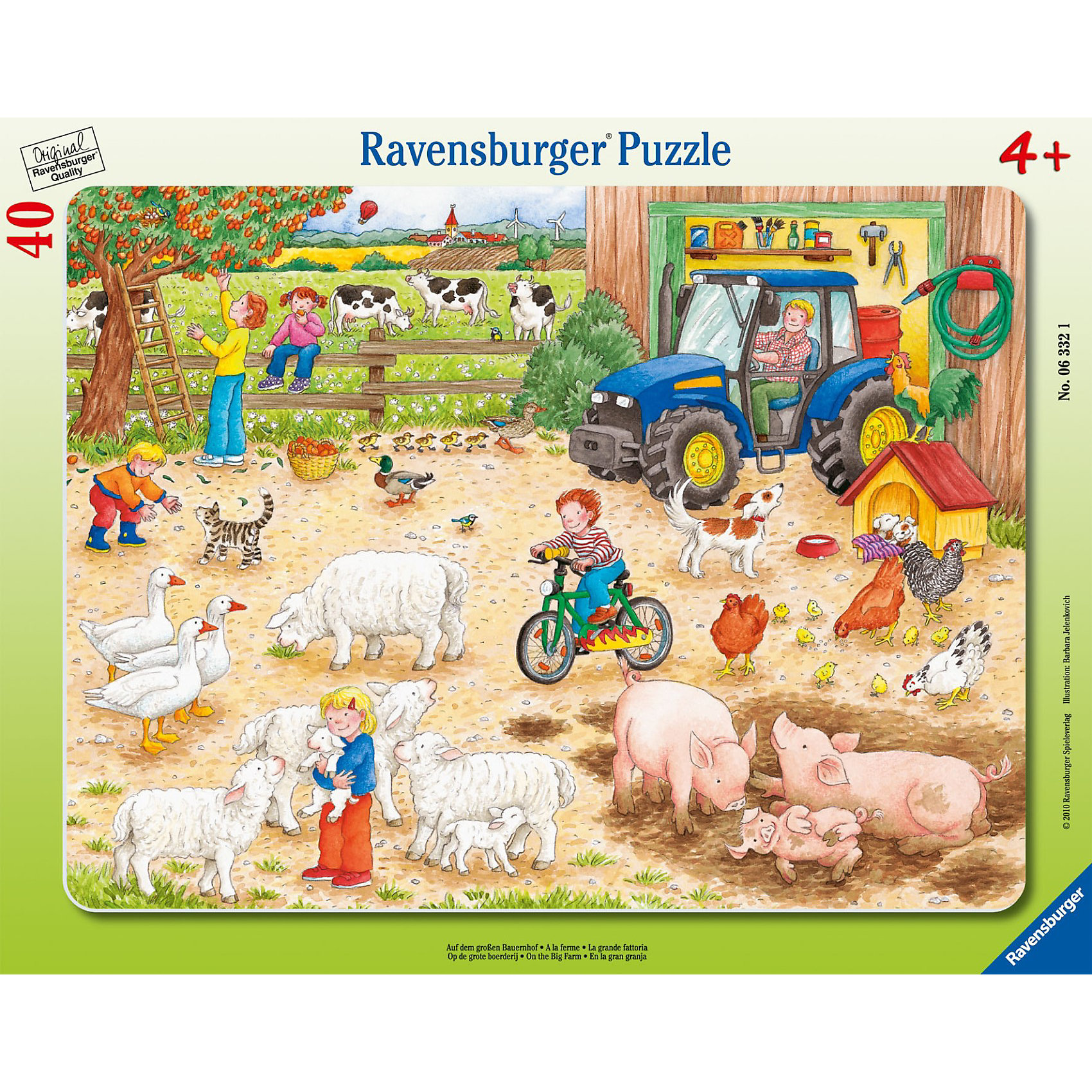 Пазл «Большое хозяйство» 40 деталей, RavensburgerКлассические пазлы<br>Собирая Пазл «Большое хозяйство» 40 деталей, Ravensburger (Равенсбургер) воедино, ребенок постепенно открывает новые фрагменты удивительной и интересной композиции повседневной жизни на ферме. На картинке малыш найдет множество домашних животных, мальчика на велосипеде, мужчину на тракторе, ребят, собирающих плоды с дерева, другие мелкие детали, которые позволят расширить кругозор и придумывать интересные сюжеты о том, как могут развиваться события на картинке. <br><br>Характеристики:<br>-Элементы идеально соединяются друг с другом, не отслаиваются с течением времени<br>-Высочайшее качество картона и полиграфии <br>-Матовая поверхность исключает отблески<br>-Развивает: память, мышление, усидчивость, мелкая моторика, наблюдательность, воображение, общий уровень интеллекта, цветовосприятие<br>-Каждая деталь отличается по форме, что упростит сборку <br>-Занимательное времяпрепровождение для всей семьи<br>-Для сохранения в собранном виде можно использовать скотч или специальный клей для пазлов (в комплект не входит)<br><br>Дополнительная информация:<br>-Материалы: картон<br>-Вес в упаковке: 400 г<br>-Размеры в упаковке: 37х29х0,5 см<br>-Размер картинки: 29х37 см<br>-Количество элементов: 40 шт.<br><br>Красочный пазл с изображением большой счастливой фермы понравится всем детям, которые любят собирать яркие картинки!<br><br>Пазл «Большое хозяйство» 40 деталей, Ravensburger (Равенсбургер) можно купить в нашем магазине.<br><br>Ширина мм: 375<br>Глубина мм: 292<br>Высота мм: 10<br>Вес г: 305<br>Возраст от месяцев: 48<br>Возраст до месяцев: 72<br>Пол: Унисекс<br>Возраст: Детский<br>Количество деталей: 40<br>SKU: 1979900