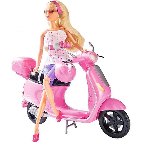 Simba             Штеффи на скутере, 6/12Транспорт и коляски для кукол<br>Simba Штеффи на скутере -  Штеффи (Steffi)  приобрела себе красивый розовый скутер, который идеально подходит для обзорных экскурсий по городу, и конечно же, шлем, чтобы путешествие было по-настоящему безопасным.<br>Штеффи обожает скорость и ведет активный образ жизни. Поэтому без скутера ей никак не обойтись.<br>У скутера есть сзади специальный отсек, куда можно убрать шлем в конце прогулки.<br><br>Дополнительная информация:<br><br>-  В набор входит: кукла с аксессуарами, скутер, шлем.<br>- Высота Штеффи: 29 см.<br>- Материалы: текстиль, пластмасса.<br>- Размеры упаковки: ширина: 32 см.; высота: 11 см.; глубина: 32.5 см.<br>-  Вес: 1 кг.<br><br>Отличный игровой набор, который наверняка понравится вашему ребенку! Игрушка развивает воображение, фантазию и творческие способности.<br><br>Купить игрушку можно в нашем магазине.<br><br>Ширина мм: 333<br>Глубина мм: 325<br>Высота мм: 114<br>Вес г: 655<br>Возраст от месяцев: 36<br>Возраст до месяцев: 72<br>Пол: Женский<br>Возраст: Детский<br>SKU: 1987254