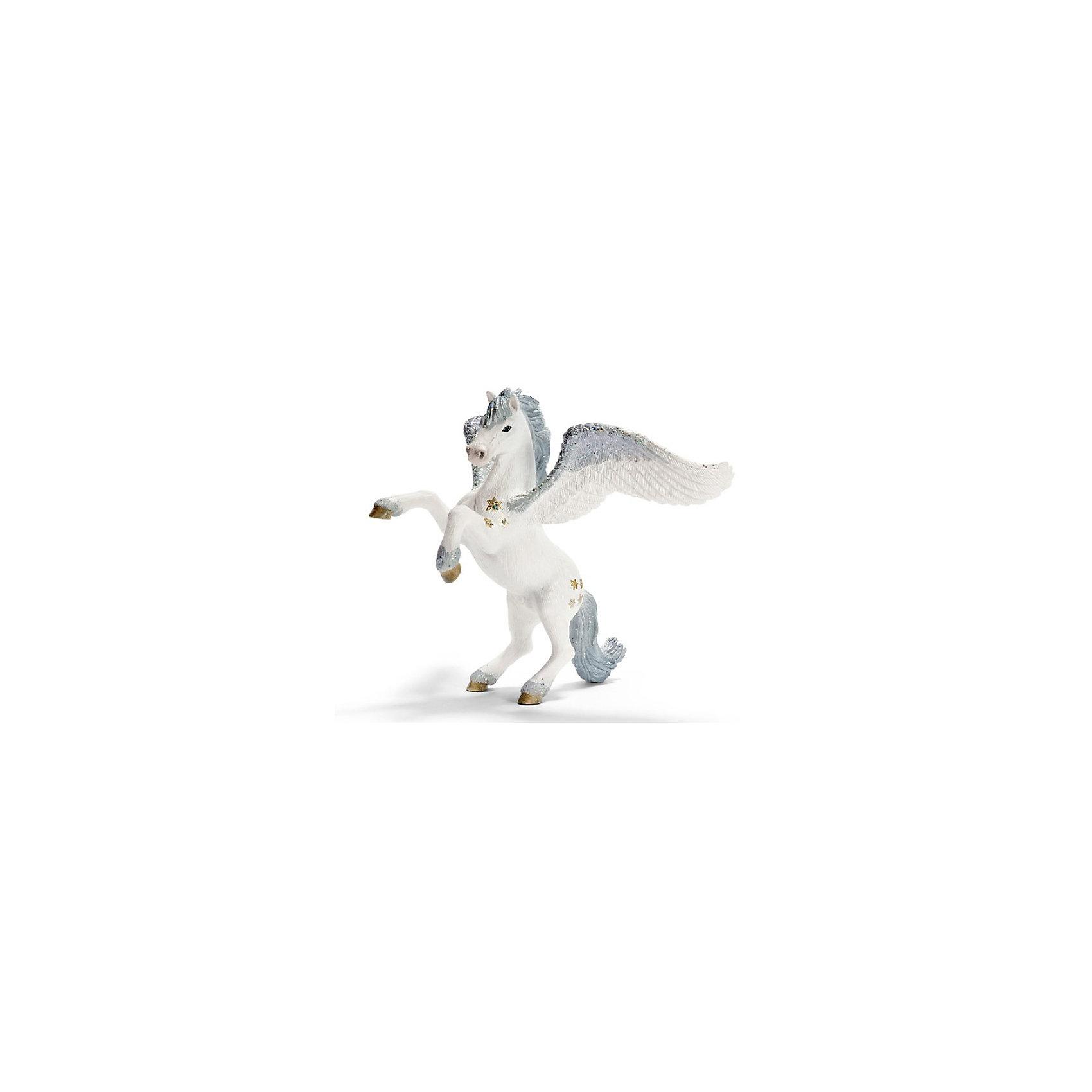 Schleich Пегас. Серия ЭльфыКоллекционные и игровые фигурки фирмы Schleich (Шляйх) из тематической серии Эльфы: Пегас, похожее на коня сказочное животное с крыльями. <br><br>В сказках и легендах он совершил немало добра. Это чрезвычайно благородное сказочное существо!<br><br><br>Подробнее:<br><br><br>- Размеры (ДxШxВ): прибл. 16,5 x 15 x 18 см<br>- Фигурка раскрашена вручную<br><br>Ширина мм: 192<br>Глубина мм: 164<br>Высота мм: 152<br>Вес г: 185<br>Возраст от месяцев: 36<br>Возраст до месяцев: 96<br>Пол: Женский<br>Возраст: Детский<br>SKU: 1994641