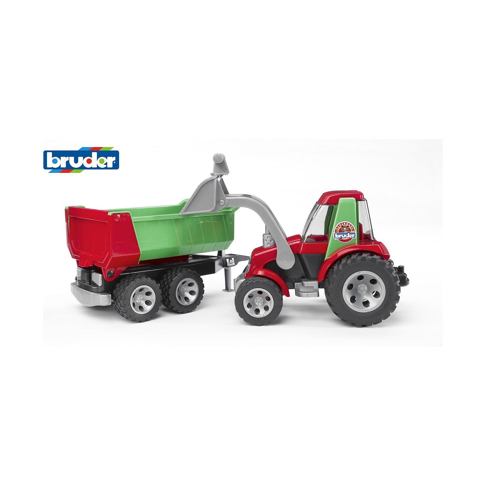 ROADMAX Трактор с ковшом и прицепом, BruderМашинки<br>ROADMAX Трактор с ковшом и прицепом, Bruder (Брудер) - это качественная детализированная игрушка с подвижными элементами.<br>ROADMAX Трактор с ковшом и прицепом от немецкого производителя игрушек Bruder (Брудер) - это уменьшенная полноценная копия настоящей машины! Машина имеет массу преимуществ и функций, она заинтересует или разовьет интерес ребенка к миру автомеханики. У трактора прозрачная кабина с откидным верхом, съемный прицеп с откидывающимся задним бортом. Ковш поднимается и опускается и при необходимости может быть зафиксирован в любом положении. Ковш может делать зачерпывающие движения, управление происходит с помощью специального рычажка. Широкие колёса с крупным протектором обеспечат хорошую проходимость. Колеса прорезиненные. Они не гремят при езде и не царапают пол. Игрушка изготовлена из высококачественного пластика, устойчивого к износу и ударам. Продукция сертифицирована, экологически безопасна для ребенка, использованные красители не токсичны и гипоаллергенны.<br><br>Дополнительная информация:<br><br>- Размер: 67,5 х 18,3 х 18,5 см.<br>- Масштаб 1:16<br>- Материал: высококачественный ударопрочный пластик<br>- Цвет: красный, зеленый, черный, серый<br><br>ROADMAX Трактор с ковшом и прицепом, Bruder (Брудер) можно купить в нашем интернет-магазине.<br><br>Ширина мм: 704<br>Глубина мм: 198<br>Высота мм: 215<br>Вес г: 1645<br>Возраст от месяцев: 24<br>Возраст до месяцев: 60<br>Пол: Мужской<br>Возраст: Детский<br>SKU: 1999712