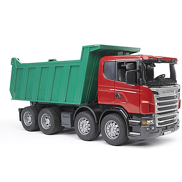 Самосвал Scania, BruderМашинки<br>Игры с Самосвалом Scania (Скания), Bruder (Брудер) доставят Вашему ребенку огромное удовольствие! Самосвал – это одна из самых незаменимых машин на любой стройке, которая предназначена для перевозки тяжелых грузов. В данной модели, выполненной в масштабе 1:16 относительно оригинала, кузов самосвала опрокидывается и фиксируется в нескольких положениях, а задний борт открывается при опрокидывании грузов.<br><br>Характеристики:<br>-Окна кабины прозрачные<br>-Зеркала наружные складываются<br>-Задняя дверь автоматически открывается при опрокидывании<br>-Световой и звуковой модуль (приобретаются отдельно)<br>-Шины резиновые с протекторами<br>-Масштаб 1:16<br>-Самосвал идеален для сюжетно-ролевых игр в песочнице<br>-Тщательная детализация, в т. ч. внутри кабины<br>-Двери кабины открываются, в салон можно посадить фигурку водителя<br>-Развивает: коммуникабельность, творческое мышление, зрительное восприятие, причинно-следственные связи<br>-Совместим с иными игрушками и аксессуарами Брудер из соответствующей серии <br><br>Дополнительная информация:<br>-Размер в упаковке: 66,5х19,5х29 см<br>-Вес в упаковке: 2 кг<br>-Материалы: пластмасса, металл, резина<br>-Размеры машинки: 54х18,5х24,3 см<br> <br>Если Вашему юному строителю не хватает мощного и функционального перевозчика грузов, то самосвал Скания от Брудер – это правильный выбор и отличный подарок!<br><br>Самосвал Scania (Скания), Bruder (Брудер) можно купить в нашем магазине.<br><br>Ширина мм: 574<br>Глубина мм: 266<br>Высота мм: 198<br>Вес г: 2354<br>Возраст от месяцев: 36<br>Возраст до месяцев: 96<br>Пол: Мужской<br>Возраст: Детский<br>SKU: 1999714