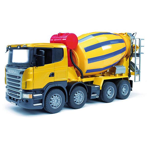 Бетономешалка Scania, BruderИдеи подарков<br>Бетономешалка Scania (цвет жёлто-синий) Bruder со множеством функций как у настоящей строительной техники вызовет восторг как у малышей, так и у детей постарше. Автотехника Брудер отличается высоким качеством исполнения и проработкой всех деталей и представляет для ребенка большую познавательную ценность.<br><br>Кабина водителя, застекленная прозрачным пластиком оборудована вращающимся рулем (на управление не влияет), складными зеркалами и декоративными рычагами управления, двери открываются. Кабина бетономешалки откидывается, предоставляя  доступа к мощному двигателю.<br><br>Барабан бетономешалки вращается при помощи рукоятки, в него можно засыпать и смешивать сыпучие вещества, полученная смесь высыпается по желобу для раствора сзади машины. Желоб удлиняется до пола и поворачивается на 180°. За кабиной водителя размещен декоративный бак для воды с крышкой (наполнение водой не предусмотрено). Задняя часть машины оборудована лесенкой с площадкой и декоративным шлангом с насадкой.<br> <br>Колёса бетономешалки резиновые с протекторами.<br><br>Дополнительная информация:<br><br>- Материал: высококачественный пластик, резина. <br>- Размер игрушки:  57,5 x 18,5 x 27,3 см. <br>- Размер упаковки: 58 х 19,5 х 28,5 см.<br>- Вес: 2,4 кг.<br><br>Игровая техника Брудер развивает у ребенка логическое мышление и воображение, мелкую моторику, зрительное восприятие и память.<br><br>Бетономешалка Scania Bruder можно купить в нашем интернет-магазине.<br><br>Ширина мм: 665<br>Глубина мм: 299<br>Высота мм: 200<br>Вес г: 2744<br>Возраст от месяцев: 36<br>Возраст до месяцев: 96<br>Пол: Мужской<br>Возраст: Детский<br>SKU: 1999715
