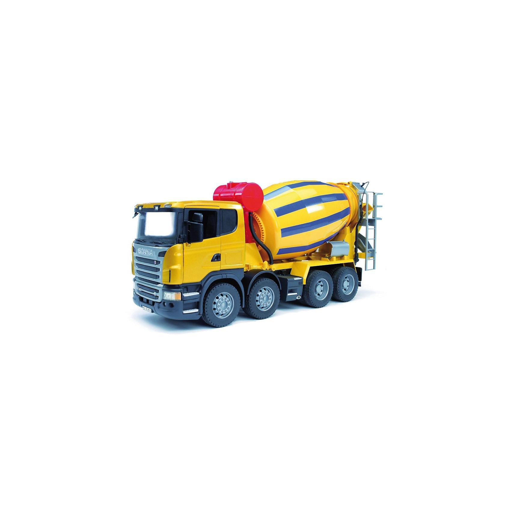 Бетономешалка Scania, BruderКоллекционные модели<br>Бетономешалка Scania (цвет жёлто-синий) Bruder со множеством функций как у настоящей строительной техники вызовет восторг как у малышей, так и у детей постарше. Автотехника Брудер отличается высоким качеством исполнения и проработкой всех деталей и представляет для ребенка большую познавательную ценность.<br><br>Кабина водителя, застекленная прозрачным пластиком оборудована вращающимся рулем (на управление не влияет), складными зеркалами и декоративными рычагами управления, двери открываются. Кабина бетономешалки откидывается, предоставляя  доступа к мощному двигателю.<br><br>Барабан бетономешалки вращается при помощи рукоятки, в него можно засыпать и смешивать сыпучие вещества, полученная смесь высыпается по желобу для раствора сзади машины. Желоб удлиняется до пола и поворачивается на 180°. За кабиной водителя размещен декоративный бак для воды с крышкой (наполнение водой не предусмотрено). Задняя часть машины оборудована лесенкой с площадкой и декоративным шлангом с насадкой.<br> <br>Колёса бетономешалки резиновые с протекторами.<br><br>Дополнительная информация:<br><br>- Материал: высококачественный пластик, резина. <br>- Размер игрушки:  57,5 x 18,5 x 27,3 см. <br>- Размер упаковки: 58 х 19,5 х 28,5 см.<br>- Вес: 2,4 кг.<br><br>Игровая техника Брудер развивает у ребенка логическое мышление и воображение, мелкую моторику, зрительное восприятие и память.<br><br>Бетономешалка Scania Bruder можно купить в нашем интернет-магазине.<br><br>Ширина мм: 671<br>Глубина мм: 292<br>Высота мм: 198<br>Вес г: 2725<br>Возраст от месяцев: 36<br>Возраст до месяцев: 96<br>Пол: Мужской<br>Возраст: Детский<br>SKU: 1999715