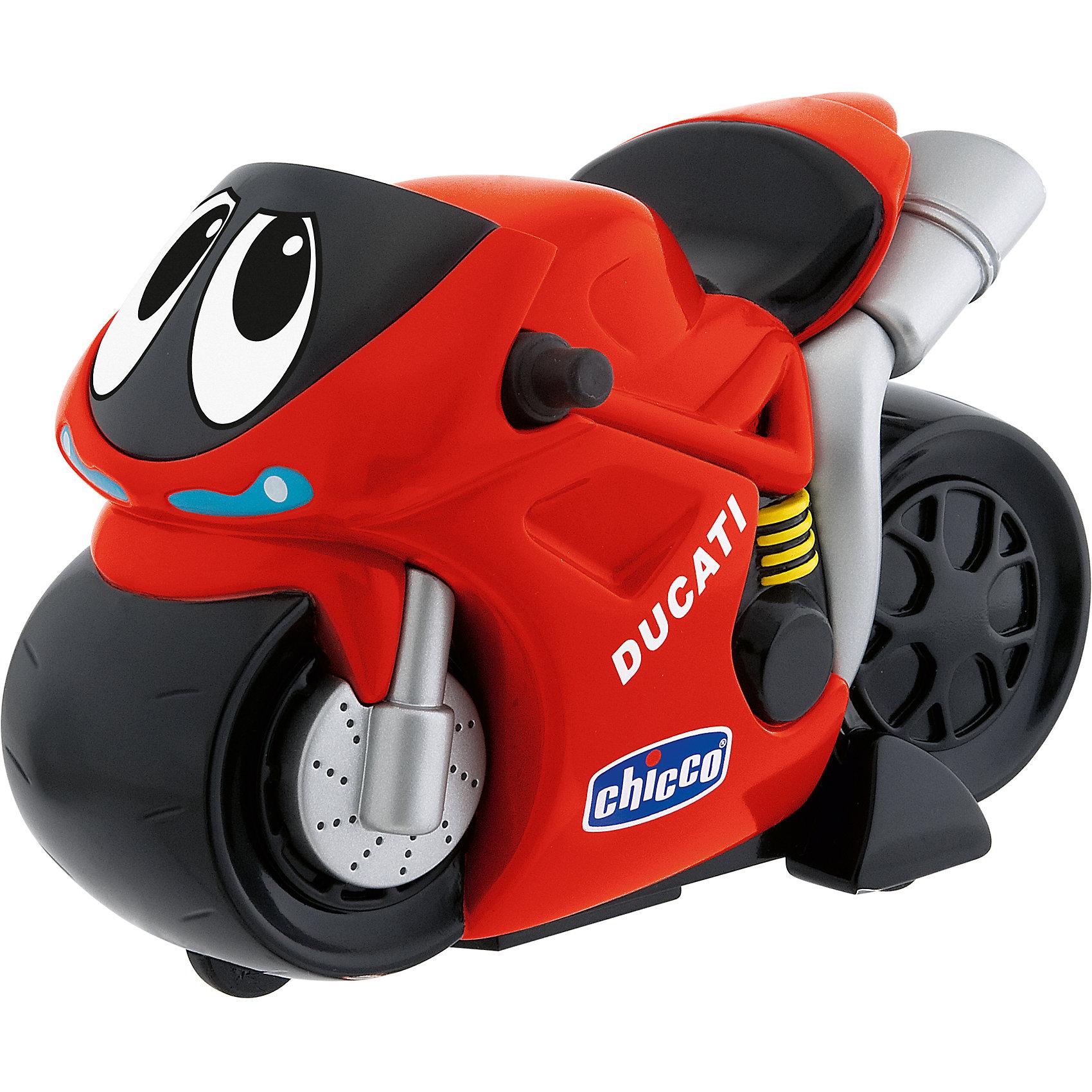 Турбо-мотоцикл Ducati, красный, ChiccoТурбо-мотоцикл Ducati Chicco (Чико) идеален для маленьких любителей двухколесных игрушек!<br><br>Подобно настоящему Ducati он приезжает первым! Простого нажатия руки достаточно, чтобы завести мотор, разогнаться, с ревом пролететь по кругу, резко затормозить и поприветствовать всех сигналом клаксона! Достаточно одного простого нажатия на заднюю часть секции с сиденьем, чтобы его завести: сильнее нажмешь, больше заведешь! Турбо-мотоцикл вибрирует, разгоняется, издавая звук мотора во время движения, резко останавливается под визг тормозов.<br><br>Дополнительная информация:<br>- Батарейки: 3 х АА 1,5 В, входят в комплект.<br>- Турбо-мотоцикл может проехать до 10 метров.<br>- Размеры упаковки: 21 х 13 х 15 см<br><br>Турбо-мотоцикл Ducati Chicco красного цвета можно купить в нашем интернет-магазине.<br><br>Ширина мм: 126<br>Глубина мм: 212<br>Высота мм: 153<br>Вес г: 390<br>Возраст от месяцев: 24<br>Возраст до месяцев: 60<br>Пол: Мужской<br>Возраст: Детский<br>SKU: 2009678