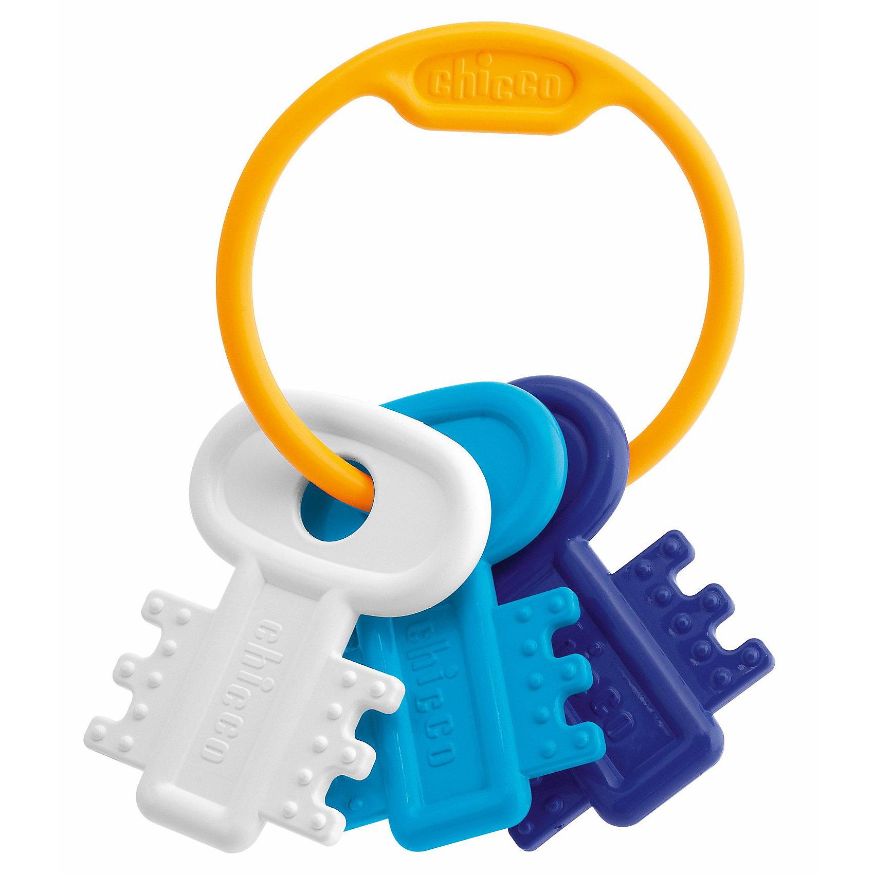 Погремушка Ключи на кольце, голубая, ChiccoПогремушка Ключи на кольце, голубая, Chicco (Чико) – эта забавная погремушка-прорезыватель привлечет внимание вашего малыша.<br>Погремушку легко держать, она идеальна для периода прорезывания зубов благодаря рельефным выступам на поверхности. При малейшем движении погремушка издает звук. Перебирая ключики, малыш получит удовольствие от тактильного контакта, а сами ключики будут воздействовать на нервные окончания в его пальчиках, стимулируя, таким образом, работу мозга.<br><br>Дополнительная информация:<br><br>- Цвет: голубой, белый, синий<br>- Материал: высококачественный полипропилен<br>- Размер упаковки: 21,5 х 15 x 3 см.<br><br>Погремушка Ключи на кольце, голубую, Chicco (Чико) можно купить в нашем интернет-магазине.<br><br>Ширина мм: 213<br>Глубина мм: 149<br>Высота мм: 31<br>Вес г: 69<br>Возраст от месяцев: 3<br>Возраст до месяцев: 12<br>Пол: Мужской<br>Возраст: Детский<br>SKU: 2009694
