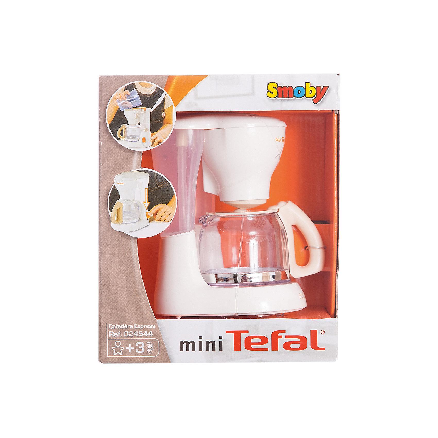 Кофеварка Тefal, SmobyИгрушечная бытовая техника<br>Характеристики:<br><br>• вид игрушки: игрушечная бытовая техника;<br>• особенность кофеварки Тefal: использование воды;<br>• материал: пластик;<br>• размер упаковки: 20х11х17 см;<br>• вес: 300 г.<br><br>Кофеварка Simba является игрушечной копией бытовой техники Тefal. Работает без батареек, в действие приводится механическим способом. Резервуар наполняется водой, внизу устанавливается кофейник с стенками из прозрачного пластика. Затем необходимо нажать на кнопку, чтобы наполнить кофейник кофе. <br><br>Кофеварку Тefal, Simba можно купить в нашем магазине.<br><br>Ширина мм: 212<br>Глубина мм: 174<br>Высота мм: 110<br>Вес г: 299<br>Возраст от месяцев: 36<br>Возраст до месяцев: 72<br>Пол: Женский<br>Возраст: Детский<br>SKU: 2014656