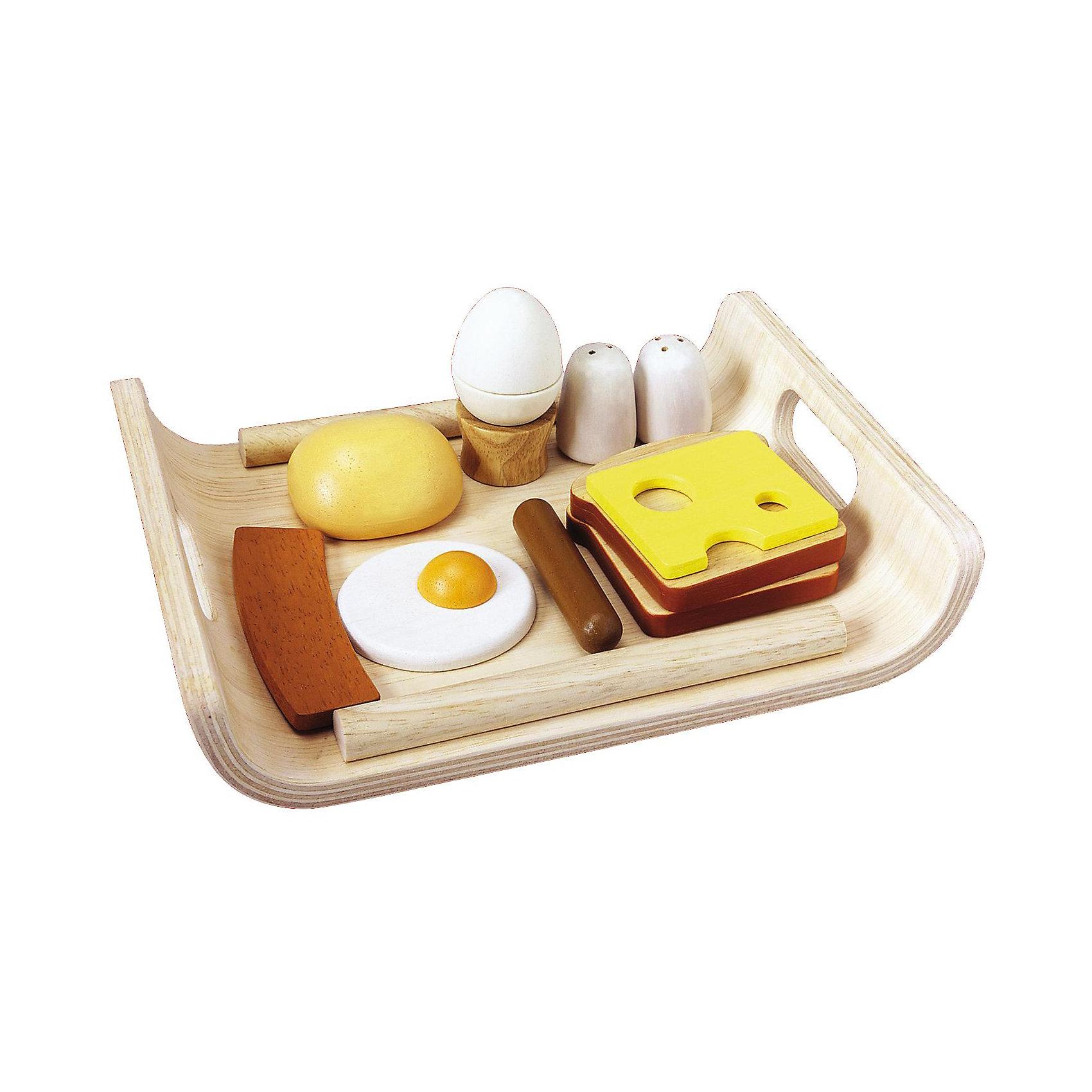 PLAN TOYS 3415 Набор Завтрак на подносеИгрушечные продукты питания<br>Все готово к завтраку! Великолепный набор Завтрак на подносе от PLAN TOYS (План Тойс) 3415 изготовлен из натурального дерева, а продукты на подносе выглядят совсем как настоящие.<br><br>Дополнительная информация:<br><br>- В комплект входят: 2 тоста, 1 булочка, 1 сосиска, 1 кусочек ветчины, 1 кусочек сыра, 1 яичница, 1 вареное яйцо на подставке, солонка, перечница – и все это на подносе. <br>- Материал: дерево<br>- Размеры подноса: 18 x 25,5 x 5,0 см<br><br>PLAN TOYS 3415 Набор Завтрак на подносе можно купить в нашем магазине.<br><br>Ширина мм: 289<br>Глубина мм: 236<br>Высота мм: 68<br>Вес г: 650<br>Возраст от месяцев: 36<br>Возраст до месяцев: 60<br>Пол: Унисекс<br>Возраст: Детский<br>SKU: 2017229