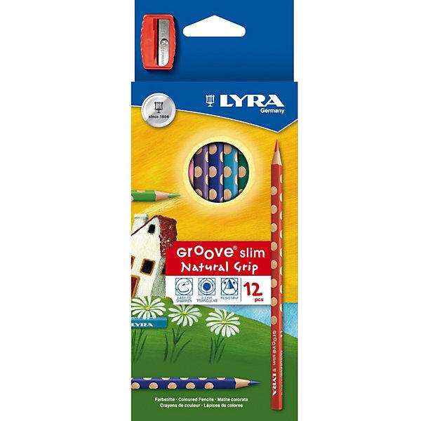 Цветные карандаши, 12 шт.Цветные<br>Характеристики товара:<br><br>• в комплекте: 12 карандашей, точилка;<br>• диаметр грифеля: 3,3 мм;<br>• длина карандашей: 17,5 см;<br>• размер упаковки: 9х22,5х1 см;<br>• вес: 110 грамм;<br>• возраст: от 3 лет.<br><br>Набор Lyra GROOVE SLIM состоит из 12 цветных карандашей с круглыми выемками по всей длине корпуса. Такая форма карандашей поможет правильно сформировать захват как правшам, так и левшам. При рисовании руки не устают, поэтому ребенок сможет нарисовать картины, требующие тщательной прорисовки.<br><br>Грифель карандаша отличается высокой прочностью. Он не ломается и не крошится при использовании. Корпус карандаша выполнен из экологически чистой сертифицированной древесины. Диаметр грифеля - 3,3 мм.<br><br>Lyra (Лира) GROOVE SLIM 12 цв. цветные карандаши с эргономичным захватом по всей длине можно купить в нашем интернет-магазине.<br>Ширина мм: 227; Глубина мм: 94; Высота мм: 24; Вес г: 93; Возраст от месяцев: 60; Возраст до месяцев: 120; Пол: Унисекс; Возраст: Детский; SKU: 2021014;