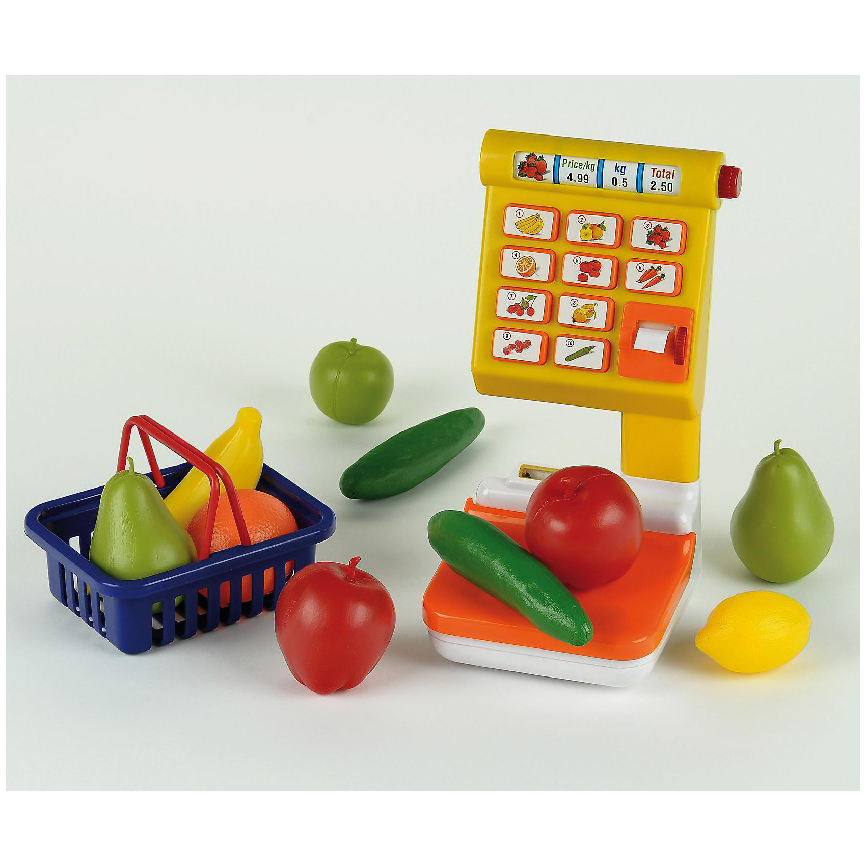 klein Весы для овощей и фруктовЭлектронные весы от klein (Кляйн) для овощей и фруктов с множеством аксессуаров.    <br><br>Дополнительные характеристики:<br><br>- во время взвешивания на дисплее  загорается лампочка  <br>- звуковой эффект при прокручивании бокового колесика       <br>- чаша весов опускается при взвешивании  <br>- 10 кнопок      <br>- Размеры (ДxШxВ): 38 x 19 x 33 см <br>- Батарейки: 2 x Mignon/LR06/AA (не входят в комплект)<br><br>klein (Кляйн) Весы для овощей и фруктов можно купить в нашем магазине.<br><br>Ширина мм: 380<br>Глубина мм: 190<br>Высота мм: 330<br>Вес г: 1123<br>Возраст от месяцев: 36<br>Возраст до месяцев: 120<br>Пол: Унисекс<br>Возраст: Детский<br>SKU: 2022513