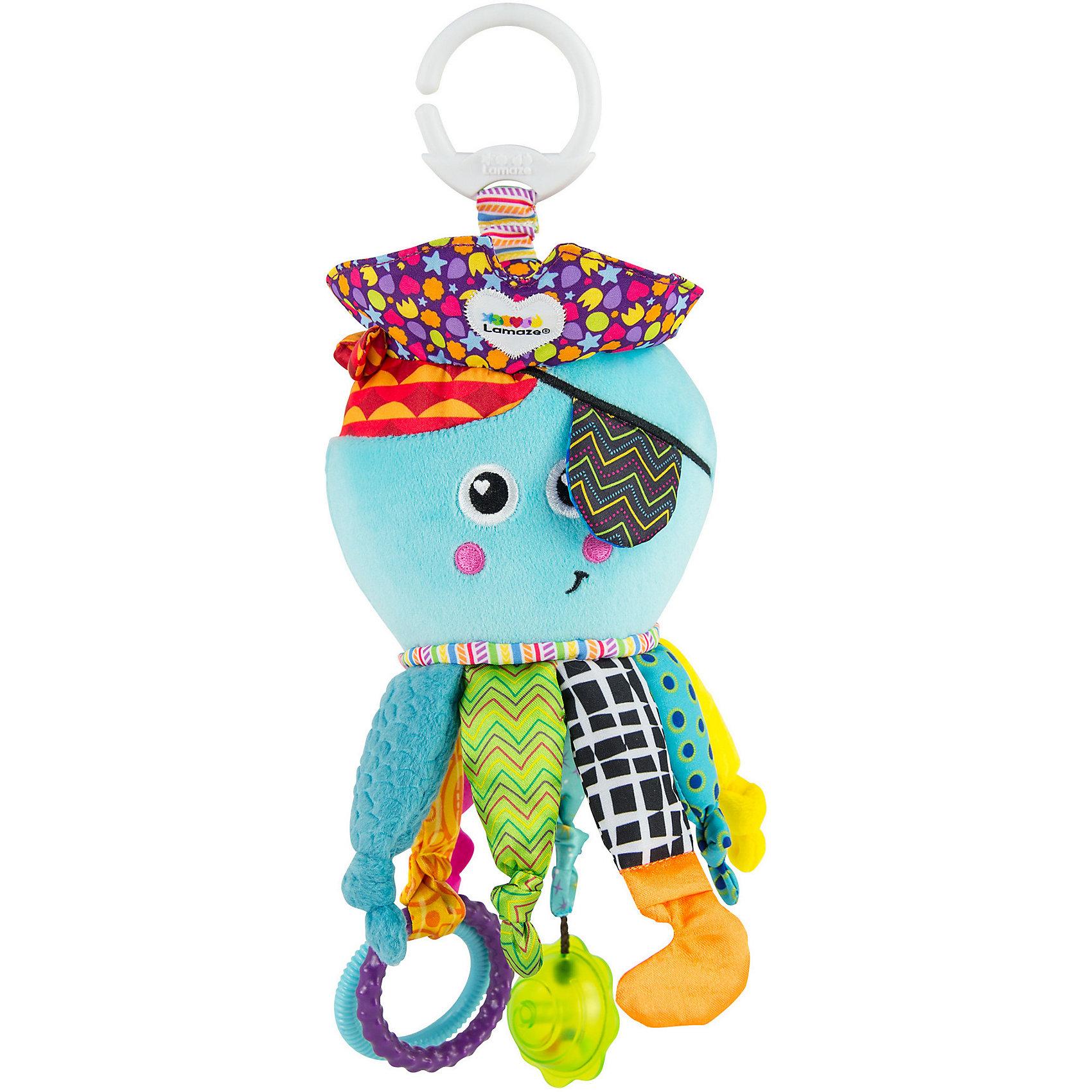 Игрушка Капитан Кальмар, LamazeПодвески<br>Яркая игрушка для самых маленьких обязательно полюбится крохе.  Выполнена из разноцветных материалов различной фактуры, что позволяет развивать мелкую моторику, сенсорное и цветовое восприятие. Капитан кальмар имеет приятную на ощупь шуршащую шляпу, безопасное зеркальце, несколько колец-прорезывателей и яркую погремушку. За кольцо, расположенное в верхней части, игрушку очень удобно подвешивать к кроватке, коляске или манежу. Веселый капитан Кальмар обязательно понравится крохе. <br><br>Дополнительная информация:<br><br>- Материал: пластик, текстиль.<br>- Размер одной погремушки: 25 см.<br>- Цвет: разноцветный.<br>- Звуковые эффекты: погремушка.<br>- Кольца-прорезыватели, безопасное зеркало.<br><br>Игрушку Капитан Кальмар, Lamaze можно купить в нашем магазине.<br><br>Ширина мм: 232<br>Глубина мм: 132<br>Высота мм: 93<br>Вес г: 157<br>Возраст от месяцев: 0<br>Возраст до месяцев: 18<br>Пол: Унисекс<br>Возраст: Детский<br>SKU: 2022605