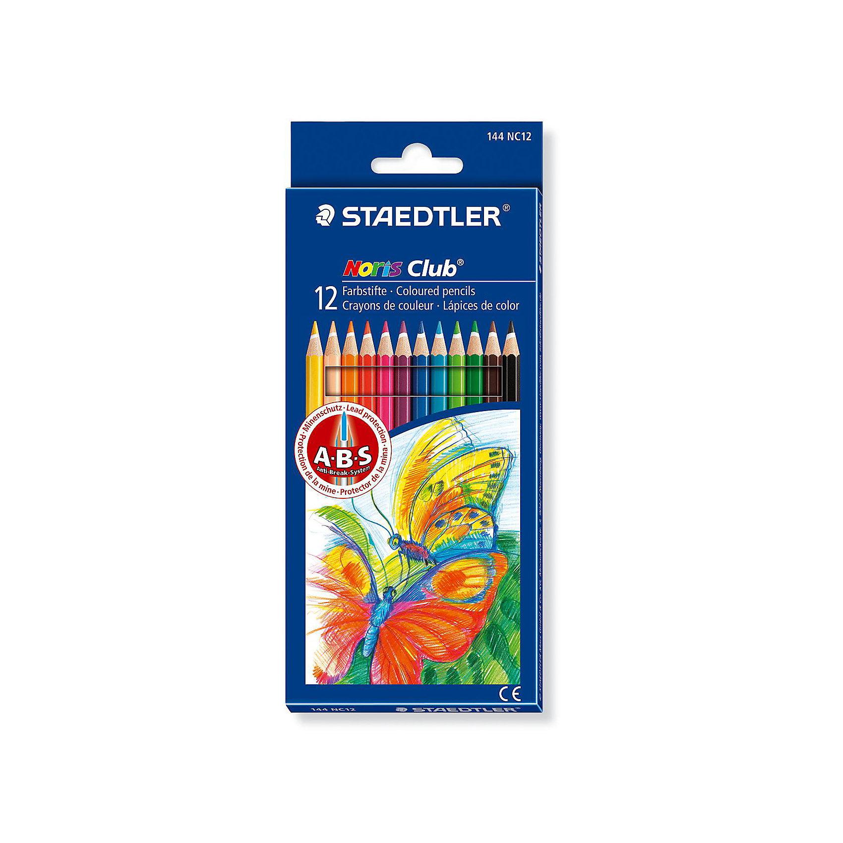 Карандаш цветной NorisClub, 12 цветовРисование<br>Набор цветных карандашей Noris Club® 144, 12 цветов в картонной упаковке. Карандаши уложены в 1 ряд. Классическая шестигранная форма. A-B-S - белое защитное покрытие для укрепления грифеля и для защиты от поломки. Очень мягкий и яркий грифель. При производстве используется древесина сертифицированных и специально подготовленных лесов.<br><br>Ширина мм: 197<br>Глубина мм: 89<br>Высота мм: 10<br>Вес г: 75<br>Возраст от месяцев: 36<br>Возраст до месяцев: 192<br>Пол: Унисекс<br>Возраст: Детский<br>SKU: 2031234