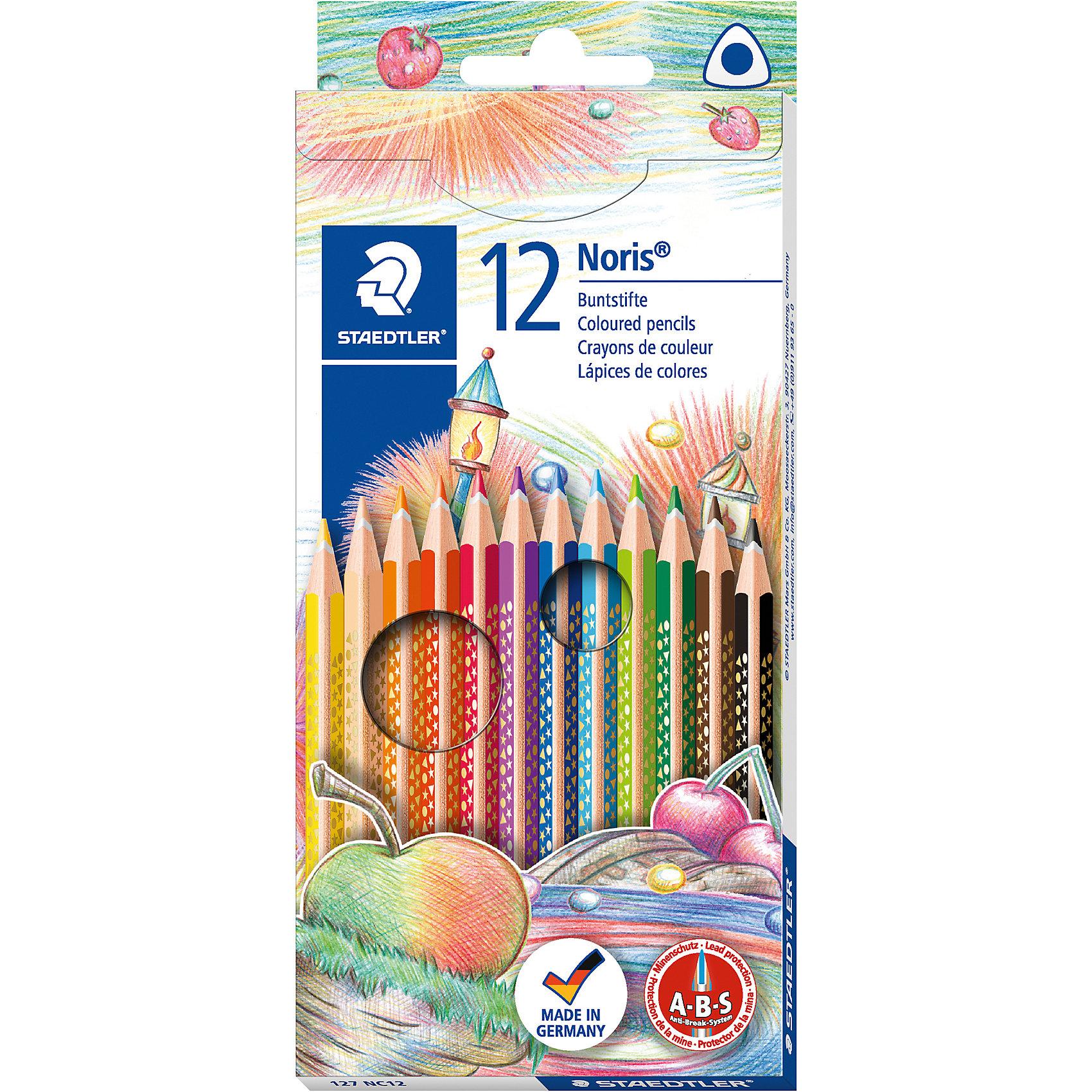 Staedtler Карандаши цветные NorisClub трехгранные, 12цв.Рисование<br>Трехгранные цветные карандаши стандартного размера для всех возрастных групп;<br>Специальная эргономичная форма, корректирующая ученический захват, для рисования без усталости и усилий;<br>Система защиты от поломки ABS (Anti-break-system) увеличивает устойчивость и сокращает ломкость грифеля;<br>Прочные грифели сочных цветов;<br>Легко затачивать при любом качестве точилки;<br>Цветные карандаши  соответствуют Европейскому стандарту  EN 71 (требованиябезопасности к игрушкам);<br>Набор из 12 цветов в картонном коробе, имеющем встроенную систему подвески для розничных магазинов;<br>Грифель диаметром 3 мм.<br><br>Ширина мм: 199<br>Глубина мм: 88<br>Высота мм: 10<br>Вес г: 66<br>Возраст от месяцев: 36<br>Возраст до месяцев: 144<br>Пол: Унисекс<br>Возраст: Детский<br>SKU: 2031240
