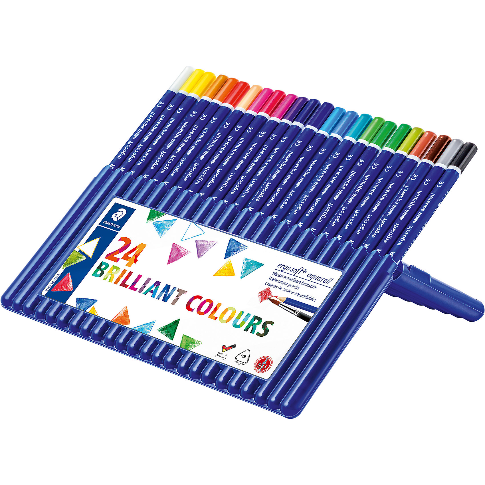 Акварельные карандаши Ergosoft, 24 цв.Рисование<br>Набор цветных карандашей  Ergo Soft эргонамичной  трехгранной  формы с акварельным грифелем для легкого письма. Содержит 24   цвета. Пластиковая коробка-подставка. Предлагается широкий выбор возможностей для применения - также водой и кистью.  Уникальное, нескользящее мягкое покрытие. A-B-C - белое защитное покрытие для укрепления грифеля и для защиты от поломки. Очень мягкий и яркий грифель. Лак на водной основе. При производстве используется древесина и специально подготовленных лесов.<br><br>Ширина мм: 217<br>Глубина мм: 185<br>Высота мм: 17<br>Вес г: 248<br>Возраст от месяцев: 60<br>Возраст до месяцев: 1188<br>Пол: Унисекс<br>Возраст: Детский<br>SKU: 2031247