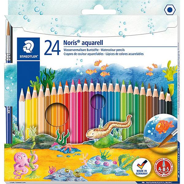 Акварельные карандаши Noris Club, 24 цв.Письменные принадлежности<br>Набор цветных карандашей Noris Club классической шестигранной формы с акварельным грифелем. Содержит 24 цвета +кисть. Предлагается широкий выбор возможностей для применения - также водой и кистью. A-B-C - белое защитное покрытие для укрепления грифеля и для защиты от поломки. Очень мягкий и яркий грифель. При призводстве используется древесина сертифицированных и  специально подготовленных лесов.<br><br>Ширина мм: 200<br>Глубина мм: 187<br>Высота мм: 12<br>Вес г: 140<br>Возраст от месяцев: 60<br>Возраст до месяцев: 144<br>Пол: Унисекс<br>Возраст: Детский<br>SKU: 2031249