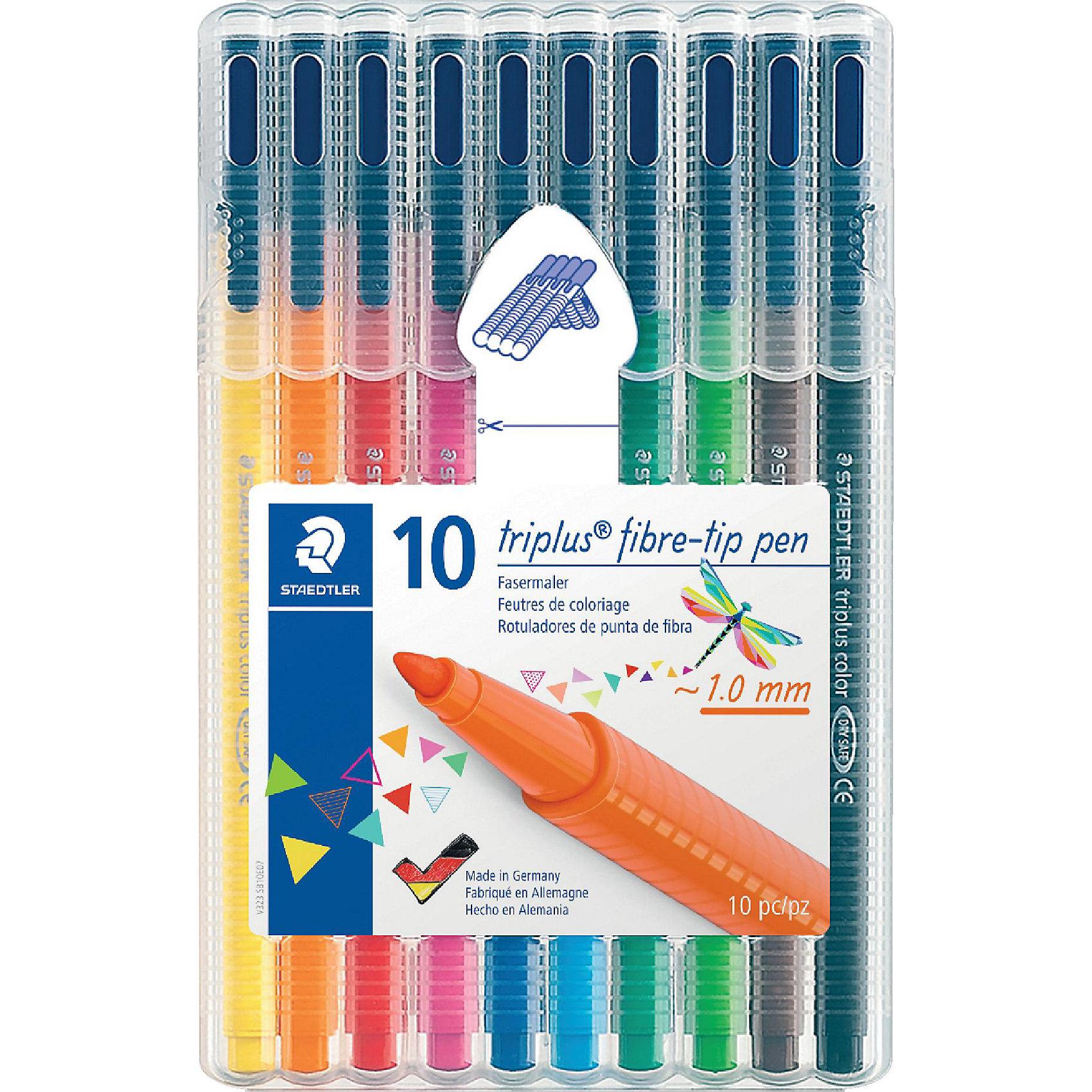 Фломастеры TriplusСolor, 10 цв.Фломастеры Triplus color, набор в пластиковой  коробке-подставке, 10 цветов. Эргонамичный трехгранный корпус для легкого и удобного письма и рисования. Прочный, устойчивый к нажиму пишущий узел. Защита от высыхания - может быть оставлен без колпачка на несколько дней. Вентилируемый колпачок. Чернила на водной основе. Остирывается с большинства поверхностей. Толщина линии прибл. 1,00 мм.<br><br>Ширина мм: 169<br>Глубина мм: 106<br>Высота мм: 17<br>Вес г: 137<br>Возраст от месяцев: 60<br>Возраст до месяцев: 1200<br>Пол: Унисекс<br>Возраст: Детский<br>SKU: 2031255