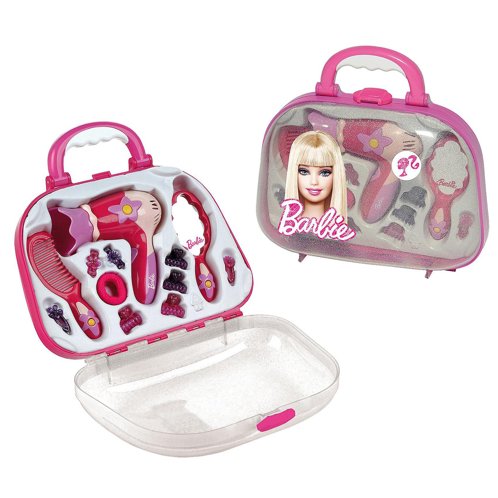 Набор парикмахера с феном Barbie, KleinПопулярные игрушки<br>Набор парикмахера от Кляйн (Klein) станет замечательным подарком для маленькой модницы. В наборе есть все необходимое для проявления творческой фантазии и создания новых необыкновенных причесок любимым куклам. Здесь Вы найдете фен, расческу, зеркало, различные заколочки и резиночки для волос. Фен имитирует работу настоящего взрослого фена: при включении из него идет струя воздуха и раздаются характерные звуки. Все инструменты упакованы в удобный чемоданчик с прозрачной передней частью и изображением куклы Барби, имеется ручка для транспортировки. Внутри для каждого инструмента есть свой отсек.<br><br>Дополнительная информация:<br><br>- В наборе: фен, расческа, зеркало, заколочки, резиночки для волос. <br>- Материал: пластик.<br>- Требуется батарейка: 1 х R6 (в комплект не входит).<br>- Размер упаковки: 27 x 28 x 10 см.<br>- Вес: 0,64 кг.<br><br>Набор парикмахера, Klein можно купить в нашем интернет-магазине.<br><br>Ширина мм: 275<br>Глубина мм: 250<br>Высота мм: 250<br>Вес г: 583<br>Возраст от месяцев: 36<br>Возраст до месяцев: 72<br>Пол: Женский<br>Возраст: Детский<br>SKU: 2041560