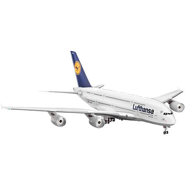 Самолёт Аэробус A380 Lufthansa (1/144)Модели для склеивания<br>Характеристики товара:<br><br>• возраст: от 10 лет;<br>• масштаб: 1:144;<br>• количество деталей: 163 шт;<br>• материал: пластик;<br>• клей и краски в комплект не входят;<br>• длина модели: 50,4 см;<br>• размах крыльев: 55,5 см;<br>• бренд, страна бренда: Revell (Ревел),Германия;<br>• страна-изготовитель: Китай.<br><br>Сборная модель для склеивания «Самолет Airbus A380 Lufthansa» поможет вам и вашему ребенку придумать увлекательное занятие на долгое время и заполнит досуг веселой игрой. Самолет получается достаточно внушительных размеров и сможет занять достойное место в вашей коллекции.<br><br>Набор включает в себя 163 элемента из высококачественного пластика, схема для окрашивания модели и инструкция, с помощью которых можно собрать достоверную уменьшенную копию настоящего аэробуса.<br> <br>Процесс сборки развивает интеллектуальные и инструментальные способности, воображение и конструктивное мышление, а также прививает практические навыки работы со схемами и чертежами. <br>Обращаем ваше внимание на тот факт, что для сборки этой модели клей и краски в комплект не входят. <br><br>Сборную модель для склеивания «Самолет Airbus A380 Lufthansa», 163 дет., Revell (Ревел) можно купить в нашем интернет-магазине.<br><br>Ширина мм: 539<br>Глубина мм: 238<br>Высота мм: 101<br>Вес г: 855<br>Возраст от месяцев: 120<br>Возраст до месяцев: 180<br>Пол: Мужской<br>Возраст: Детский<br>SKU: 2071089