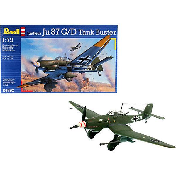 Военный самолет Junkers Ju 87 G-2 Tank Buster (1/72)Самолеты и вертолеты<br>Характеристики товара:<br><br>• возраст: от 10 лет;<br>• масштаб: 1:72;<br>• количество деталей: 62 шт;<br>• материал: пластик; <br>• клей и краски в комплект не входят;<br>• длина модели: 15,5 см;<br>• размах крыльев: 21,1 см;<br>• бренд, страна бренда: Revell (Ревел), Германия;<br>• страна-изготовитель: Польша.<br><br>Модель для сборки «Военный самолет Junkers Ju 87 G-2 Tank Buster» поможет вам и вашему ребенку придумать увлекательное занятие на долгое время и весело провести свой досуг. Модификация немецкого пикирующего бомбардировщика Ju 87 G-2.<br><br>В набор входят 62 пластиковых деталей, которые помогут воссоздать истребитель. Детали можно собрать и без помощи клея, на защелки, согласно инструкции. Готовый истребитель украсит стол или книжную полку ребенка. Краски и клей в комплект не входят.<br><br>Процесс сборки развивает интеллектуальные и инструментальные способности, воображение и конструктивное мышление, а также прививает практические навыки работы со схемами и чертежами.<br> <br>Модель для сборки «Военный самолет Junkers Ju 87 G-2 Tank Buster», 62 дет., Revell (Ревел) можно купить в нашем интернет-магазине.<br>Ширина мм: 311; Глубина мм: 183; Высота мм: 46; Вес г: 185; Возраст от месяцев: 168; Возраст до месяцев: 1164; Пол: Мужской; Возраст: Детский; SKU: 2071109;