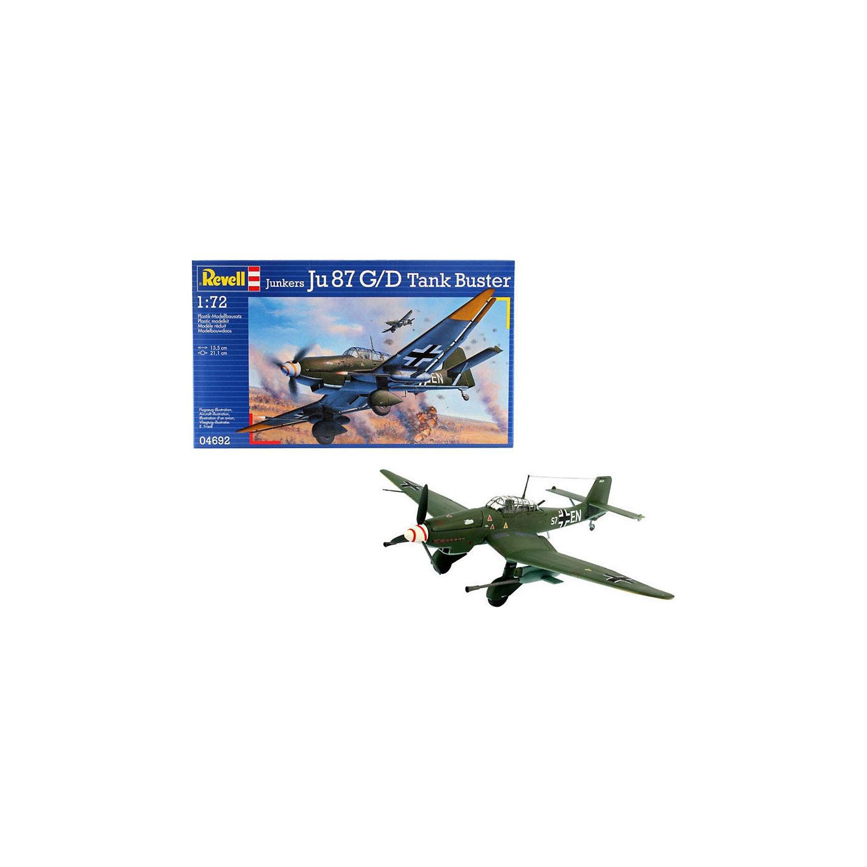 """Военный самолет Junkers Ju 87 G-2 Tank Buster (1/72)Модели для склеивания<br>Сборная модель немецкого пикирующего бомбардировщика Ju 87 G-2. Принятый незадолго до Второй мировой войны этот штурмовик стал одним из самых успешных самолетов Люфтваффе. Боевое крещение эта машина прошла во время войны в Испании. На Ju 87 была одержана первая победа во время Второй мировой. Пилотируемый Ф. Нойбертом немецкий бомбардировщик сбил польский истребитель PZL P.11, пилотируемый капитаном Мечиславом Медвецким. Впоследствии """"Штука"""" стала настоящим символом немецкого Блицкрига <br>Версии самолета Ju 87 G-2 вооружались двумя 37-мм пушками BK 37. Эта модификация штурмовика применялась в основном для борьбы с вражескими танками.  <br>Масштаб: 1:72 <br>Количество деталей: 62 <br>Длина модели: 155 мм <br>Размах крыльев: 211 мм <br>Подойдет для детей старше 10-и лет <br>Клей, краски и кисточки продаются отдельно<br><br>Ширина мм: 311<br>Глубина мм: 183<br>Высота мм: 46<br>Вес г: 185<br>Возраст от месяцев: 168<br>Возраст до месяцев: 1164<br>Пол: Мужской<br>Возраст: Детский<br>SKU: 2071109"""