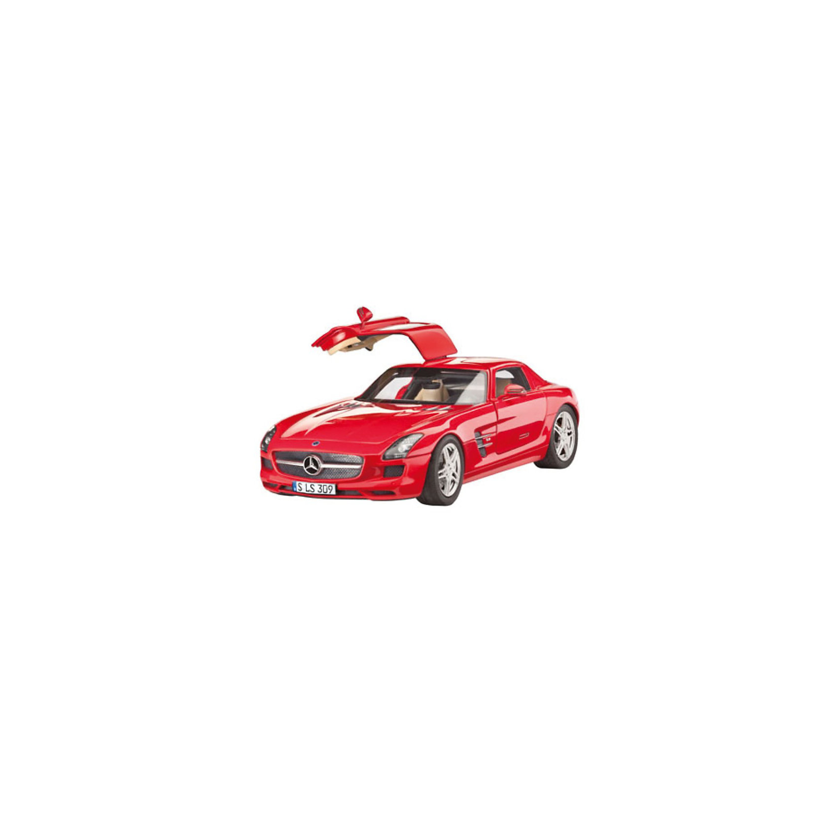 Автомобиль Mercedes SLS AMGМодели для склеивания<br>Характеристики товара:<br><br>• возраст: от 10 лет;<br>• масштаб: 1:24;<br>• количество деталей: 141 шт;<br>• материал: пластик; <br>• клей и краски в комплект не входят;<br>• длина модели: 19,3 см;<br>• бренд, страна бренда: Revell (Ревел),Германия;<br>• страна-изготовитель: Германия.<br><br>Сборная модель для склеивания «Автомобиль Mercedes SLS AMG» поможет вам и вашему ребенку придумать увлекательное занятие на долгое время и получить хорошую игрушку.<br><br>Набор включает в себя 141 пластиковый элемент из которых можно собрать невероятно реалистичную машинку. В комплект также входит схематичная инструкция. Собранный автомобиль имеет прекрасно проработанный салон и реалистичную детализацию.<br><br>Процесс сборки развивает интеллектуальные и инструментальные способности, воображение и конструктивное мышление, а также прививает практические навыки работы со схемами и чертежами.<br><br>Обращаем ваше внимание на тот факт, что для сборки этой модели клей, кисточки и краски в комплект не входят. <br><br>Сборную модель для склеивания «Автомобиль Mercedes SLS AMG», 141 дет., Revell (Ревел) можно купить в нашем интернет-магазине.<br><br>Ширина мм: 360<br>Глубина мм: 215<br>Высота мм: 71<br>Вес г: 411<br>Возраст от месяцев: 168<br>Возраст до месяцев: 228<br>Пол: Мужской<br>Возраст: Детский<br>SKU: 2071133