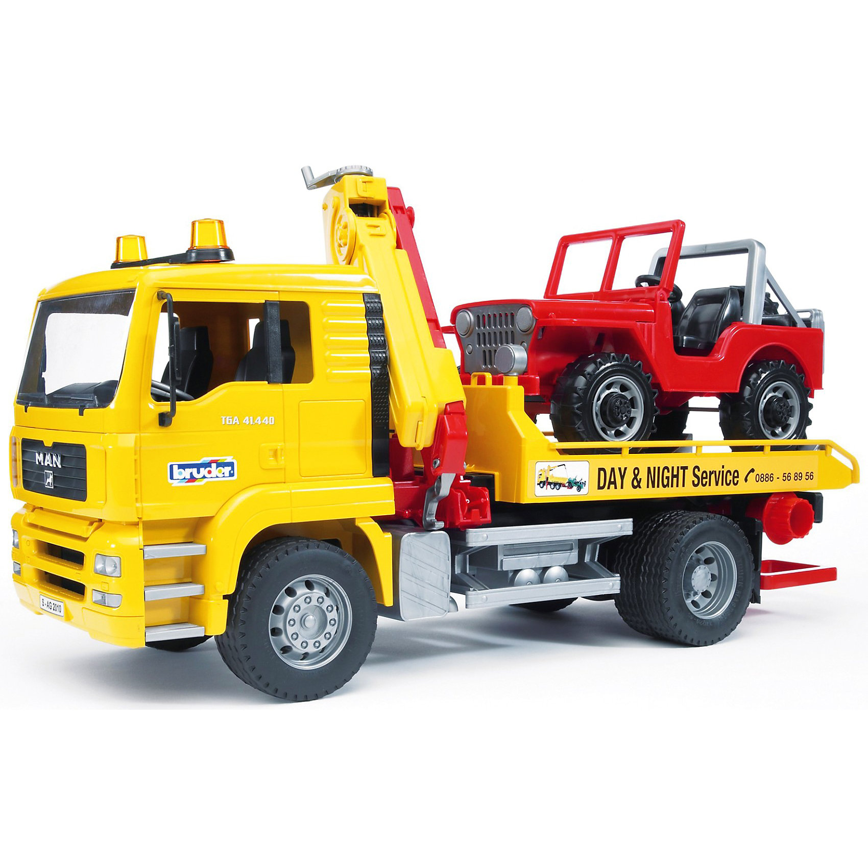 Эвакуатор MAN с портативным краном и внедорожником, BruderКоллекционные модели<br>Эвакуатор MAN с портативным краном и внедорожником Bruder (Брудер) это модель настоящего грузовика, выполненная в масштабе 1:16. В этой модели есть все основные функции, которыми обладает реальная машина. <br><br>Эвакуатор: кабина с лобовым стеклом из прозрачного пластика оборудована рулем, 2 сиденьями и декоративными рычагами управления. Кабина откидывается, двери открываются, зеркала складываются. <br><br>Автомобили загружаются на платформу с помощью закрепленного на машине крана. Подвижная стрела крана поднимается и опускается. Платформа эвакуатора откидывается, превращаясь в трап для погрузки джипа. Эвакуируемый автомобиль загружается за передние колеса при помощи цепи (есть фиксаторы для колес). Колёса эвакуаторы прорезинены. <br><br>Особенности джипа: открытая кабина, 2 сиденья, при вращении руля поворачиваются передние колеса, капот открывается, сзади есть запасное колесо, пластиковые колеса. <br><br>Дополнительная информация:<br><br>- В комплекте: эвакуатор, внедорожник и набор аксессуаров для эвакуации автомобилей (цепи с фиксаторами для колёс).<br>- Материал: высококачественный пластик.<br>- Размер игрушки: 49.5 x 18.5 x 25.5  см.<br>- Размер упаковки:  26 х 51 х 19 см.<br>- Вес: 2,1 кг.<br><br>Эвакуатор MAN  Bruder можно купить в нашем интернет-магазине.<br><br>Ширина мм: 525<br>Глубина мм: 281<br>Высота мм: 200<br>Вес г: 2050<br>Возраст от месяцев: 48<br>Возраст до месяцев: 96<br>Пол: Мужской<br>Возраст: Детский<br>SKU: 2071383