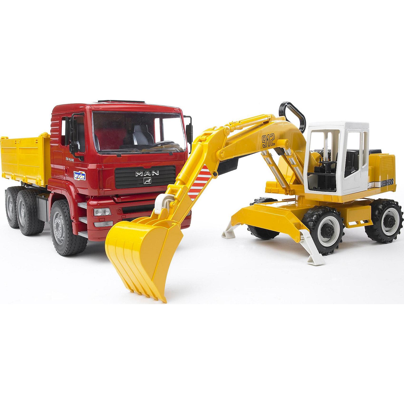 Самосвал MAN с колёсным экскаватором Liebherr, BruderМашинки<br>Самосвал MAN (Ман) с колёсным экскаватором Liebherr (Либхерр), Bruder (Брудер) – это отличный набор для маленького строителя, с которым может получиться самая настоящая строительная площадка! У самосвала откидываются водительская кабина, непосредственно сам кузов и все его три борта, складываются боковые зеркала, а также вращается рулевое колесо. Экскаватор имеет подвижную платформу (на 360 градусов), две устойчивые опоры и выдвижную телескопическую стрелу, управление которой происходит с помощью удобного рычага на стреле. Этим же рычагом двигается ковш экскаватора, который может совершать зачерпывающее движение под углом 90 градусов.<br><br>Комплектация: самосвал, экскаватор<br><br>Характеристики:<br>-Кабина самосвала наклоняется, фиксируется в нескольких положениях, поворачивается на 360 градусов<br>-Колеса прорезинены<br>-Стрела экскаватора поднимается и опускается<br>-Ковш может распрямляться и делать зачерпывающие движения<br>-Благодаря двум опорам экскаватор устойчиво стоит на поверхности<br>-Откидные борты с трех сторон кузова самосвала<br>-Набор подходит для сюжетно-ролевых игр дома и в песочнице<br>-Для более увлекательных игр спецтехника может быть оснащена световым и звуковым модулем (приобретаются отдельно)<br>-Тщательная детализация, в т. ч. внутри кабины<br><br>Дополнительная информация:<br>-Размер в упаковке: 41,5x17,5x21,5 см<br>-Вес в упаковке: 2 кг<br>-Материалы: пластик, резина, металл<br>-Размер самосвала: 17x40x20 см<br>-Размер экскаватора: 15x24x23 см<br><br>Юный строитель будет просто в восторге получить в подарок такой набор строительной техники! <br><br>Самосвал MAN (Ман) с колёсным экскаватором Liebherr (Либхерр), Bruder (Брудер) можно купить в нашем магазине.<br><br>Ширина мм: 730<br>Глубина мм: 226<br>Высота мм: 187<br>Вес г: 2004<br>Возраст от месяцев: 36<br>Возраст до месяцев: 96<br>Пол: Мужской<br>Возраст: Детский<br>SKU: 2071384