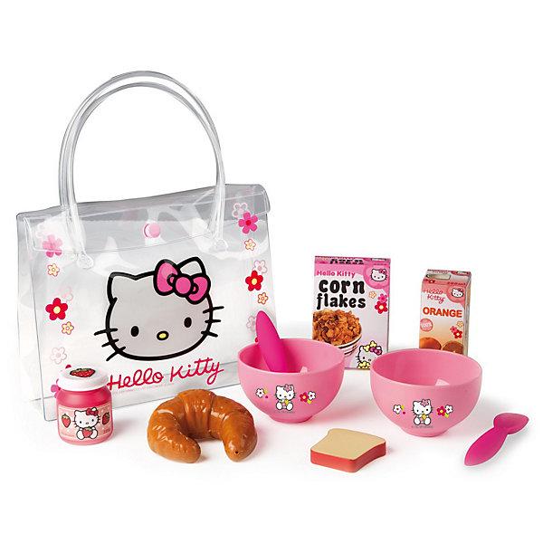 Smoby Набор для завтрака в сумочке Hello KittyИгрушечные продукты питания<br>Smoby Набор для завтрака в сумочке Hello Kitty - милый набор для завтрака Hello Kitty в практичной сумочке.<br><br>Набор для завтрака в сумочке из серии Хелло Китти предназначен для маленьких девочек, которые хотят устроить веселый завтрак на свежем воздухе со своими куклами.  <br><br>Дополнительная информация:<br><br>- В комплект входят круасан, коробочка апельсинового сока, баночка с клубничным джемом, две пиалы, кусочек хлеба, две чайные ложечки, сумочка, коробочка хлопьев, сумочка. <br>- Размер: 21 * 5 * 16 см<br>- Материл: пластмасса.<br>- Возраст: от 3х лет.<br><br>Все, что нужно для вкусного завтрака!  <br>Набор развивает воображение и творческие способности ребенка.<br><br>Ширина мм: 210<br>Глубина мм: 170<br>Высота мм: 50<br>Вес г: 160<br>Возраст от месяцев: 36<br>Возраст до месяцев: 72<br>Пол: Женский<br>Возраст: Детский<br>SKU: 2073341