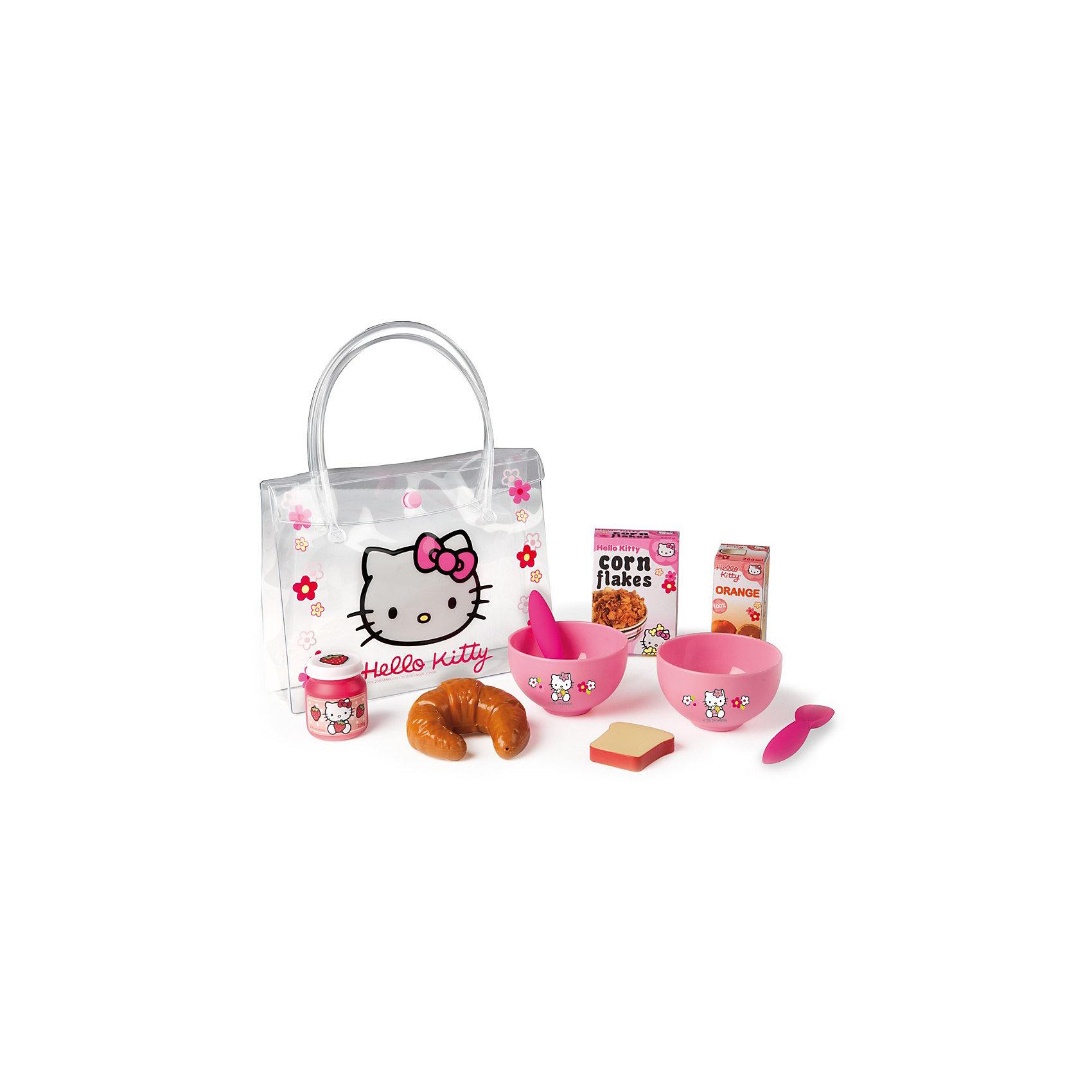 Smoby Набор для завтрака в сумочке Hello KittyПосуда и аксессуары для детской кухни<br>Smoby Набор для завтрака в сумочке Hello Kitty - милый набор для завтрака Hello Kitty в практичной сумочке.<br><br>Набор для завтрака в сумочке из серии Хелло Китти предназначен для маленьких девочек, которые хотят устроить веселый завтрак на свежем воздухе со своими куклами.  <br><br>Дополнительная информация:<br><br>- В комплект входят круасан, коробочка апельсинового сока, баночка с клубничным джемом, две пиалы, кусочек хлеба, две чайные ложечки, сумочка, коробочка хлопьев, сумочка. <br>- Размер: 21 * 5 * 16 см<br>- Материл: пластмасса.<br>- Возраст: от 3х лет.<br><br>Все, что нужно для вкусного завтрака!  <br>Набор развивает воображение и творческие способности ребенка.<br><br>Ширина мм: 210<br>Глубина мм: 170<br>Высота мм: 50<br>Вес г: 160<br>Возраст от месяцев: 36<br>Возраст до месяцев: 72<br>Пол: Женский<br>Возраст: Детский<br>SKU: 2073341