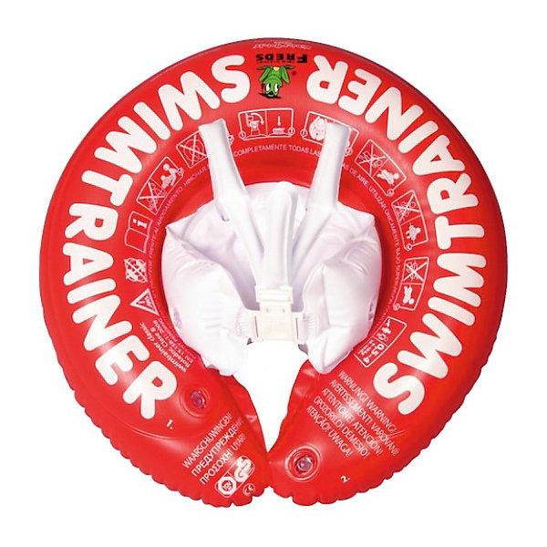 Swimtrainer  Надувной круг Classic, красныйКруги и нарукавники<br>Круг, который не только поддерживает на воде, но помогает учиться плавать Вашему ребенку!<br><br>Обучение плаванию малыша с 3 месяцев до 4 лет может начинать с красного круга SWIMTRAINER Classic. Он предназначен для раннего привыкания к воде, запоминания горизонтального положения тела, закрепления врождённого лягушачьего рефлекса. Красный круг наиболее плавуч из всех остальных кругов за счёт большего объёма надувных камер (так как начинающим маленьким пловцам требуется большая поддержка).<br><br>Особенности  круга Swimtrainer Classic:<br><br>- обеспечивает идеальную плавательную позу, избегая вертикального положения ребёнка в воде; <br>- снабжен надувными камерами, устраняющими скольжение ребёнка в круге; <br>- имеет быстрые зажимы для простоты и надёжности фиксации круга на малыше; <br>-имеет регулируемые надувные лямки, которые не дадут ребёнку чрезмерно наклоняться вперёд (хлебать воду) или перевернуться в круге. <br> <br>Дополнительная информация:<br><br>- Материал: ПВХ.<br>- Цвет: красный.<br>- Диаметр: ок. 42 см.<br>- Круг регулируется по размеру, благодаря наличию нескольких надувных камер.<br><br>Ширина мм: 225<br>Глубина мм: 193<br>Высота мм: 40<br>Вес г: 393<br>Возраст от месяцев: 3<br>Возраст до месяцев: 48<br>Пол: Унисекс<br>Возраст: Детский<br>SKU: 2109583